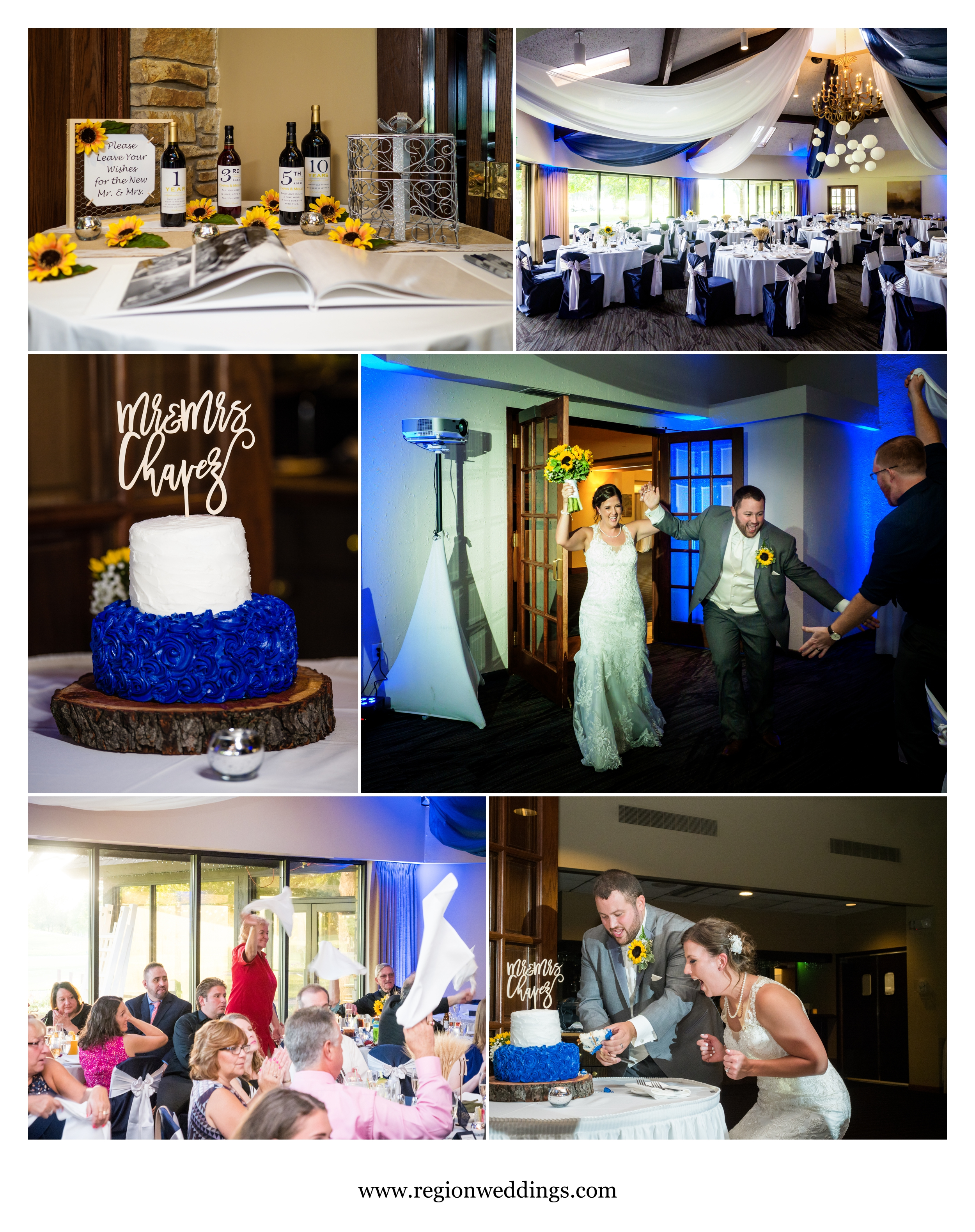 Wedding reception decor at Briar Ridge in Dyer, Indiana.
