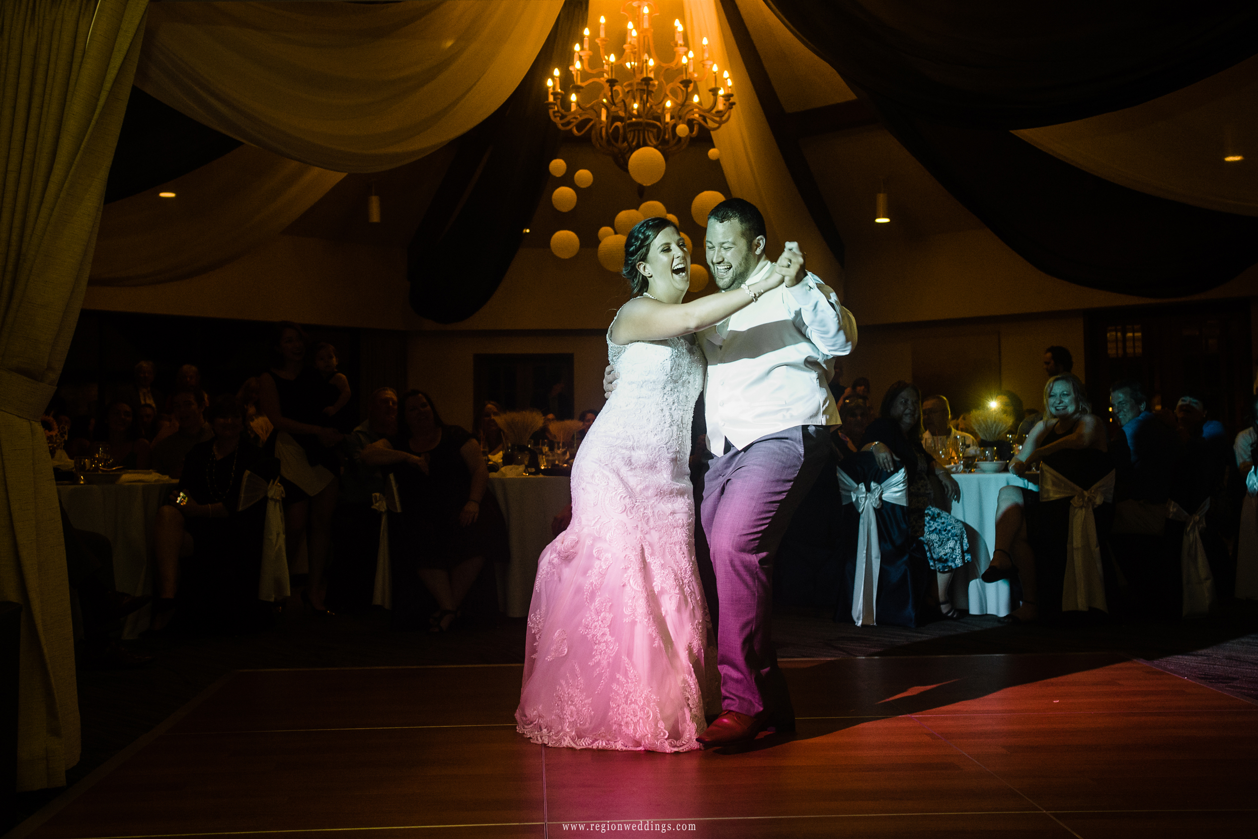 Fun moment on the dance floor for the bride and groom.
