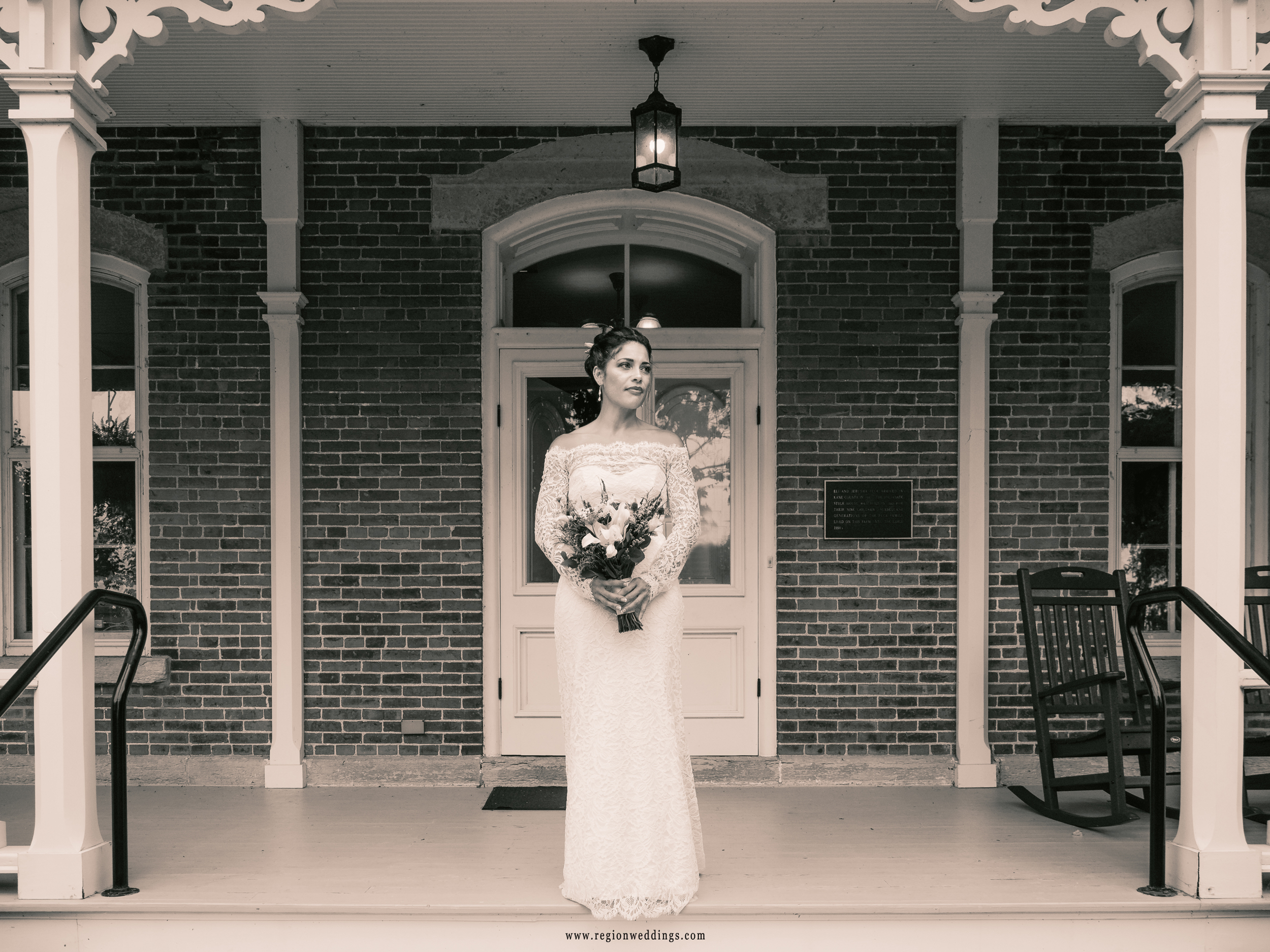 A vintage tone for the bride on the front porch of Peck Farm Park farmhouse.
