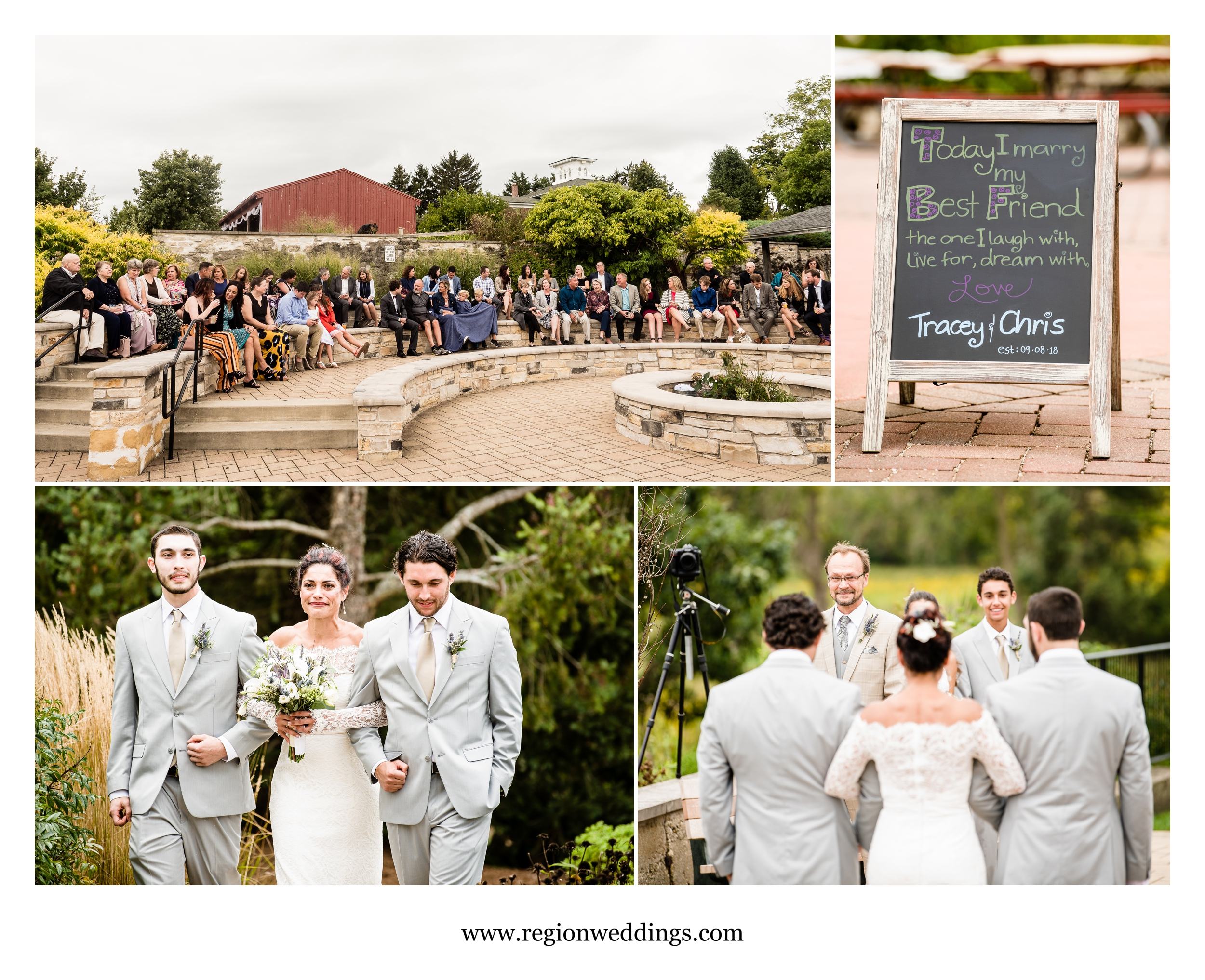 Outdoor wedding ceremony at Peck Farm Park.