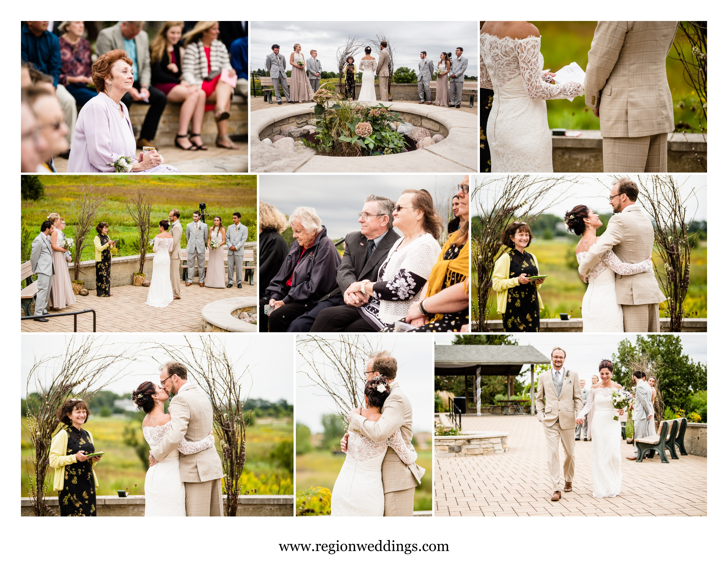 Exchanging wedding vows at Peck Farm Park in Geneva, IL.