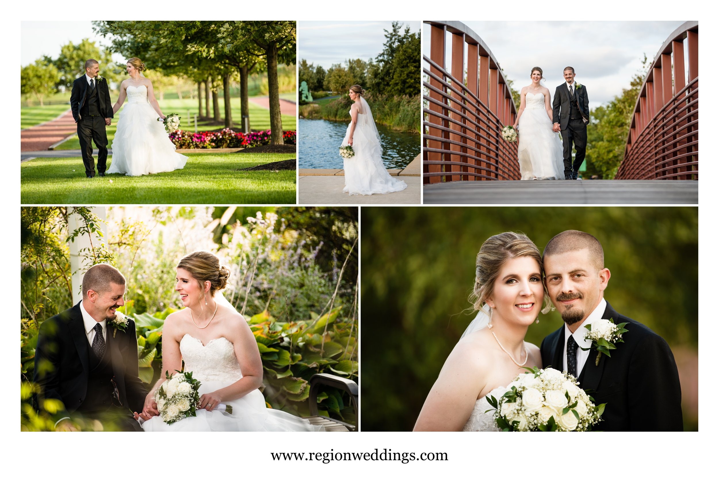 A collage of wedding portraits at Centennial Park.