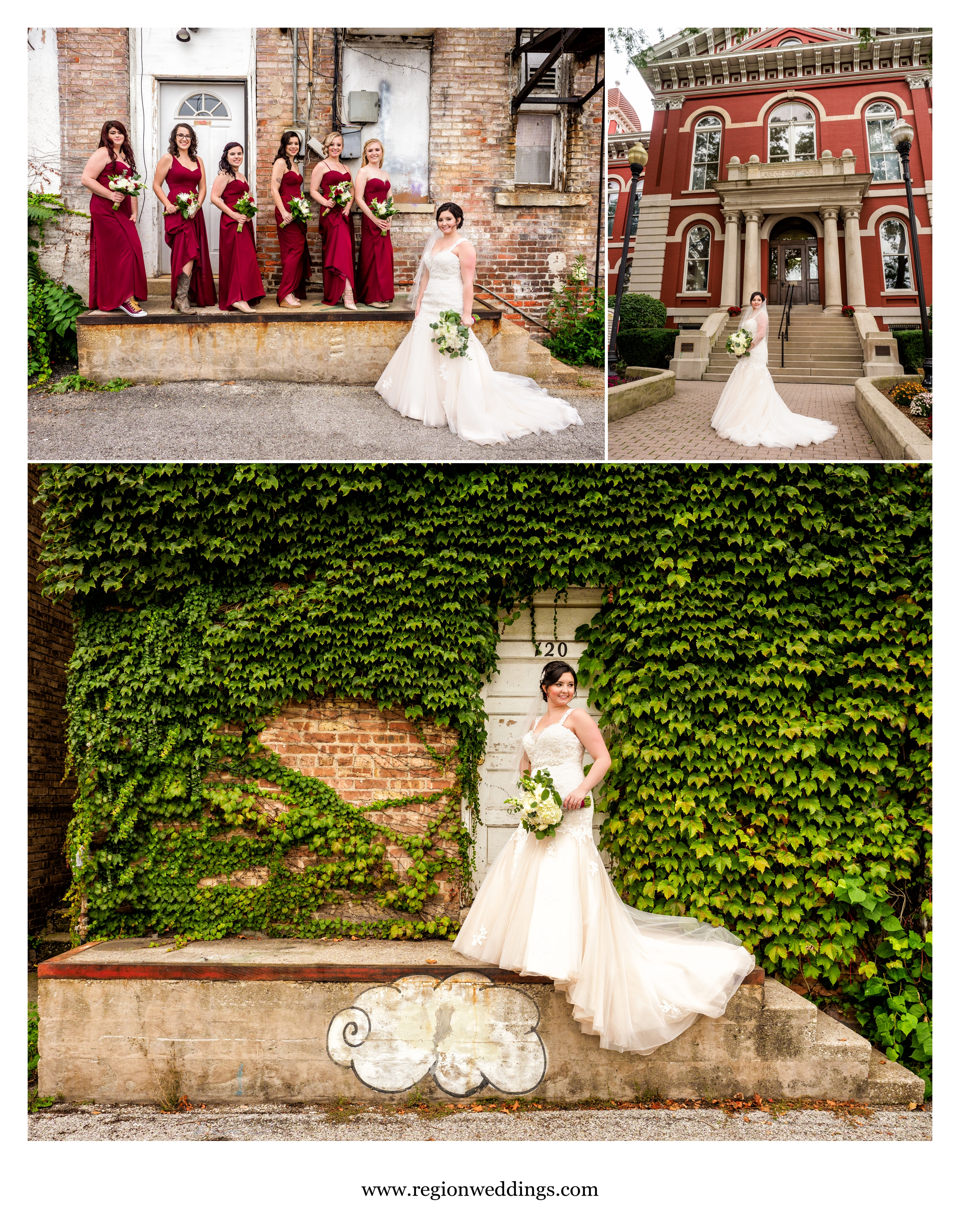 Fun bridesmaids pictures in downtown Crown Point.