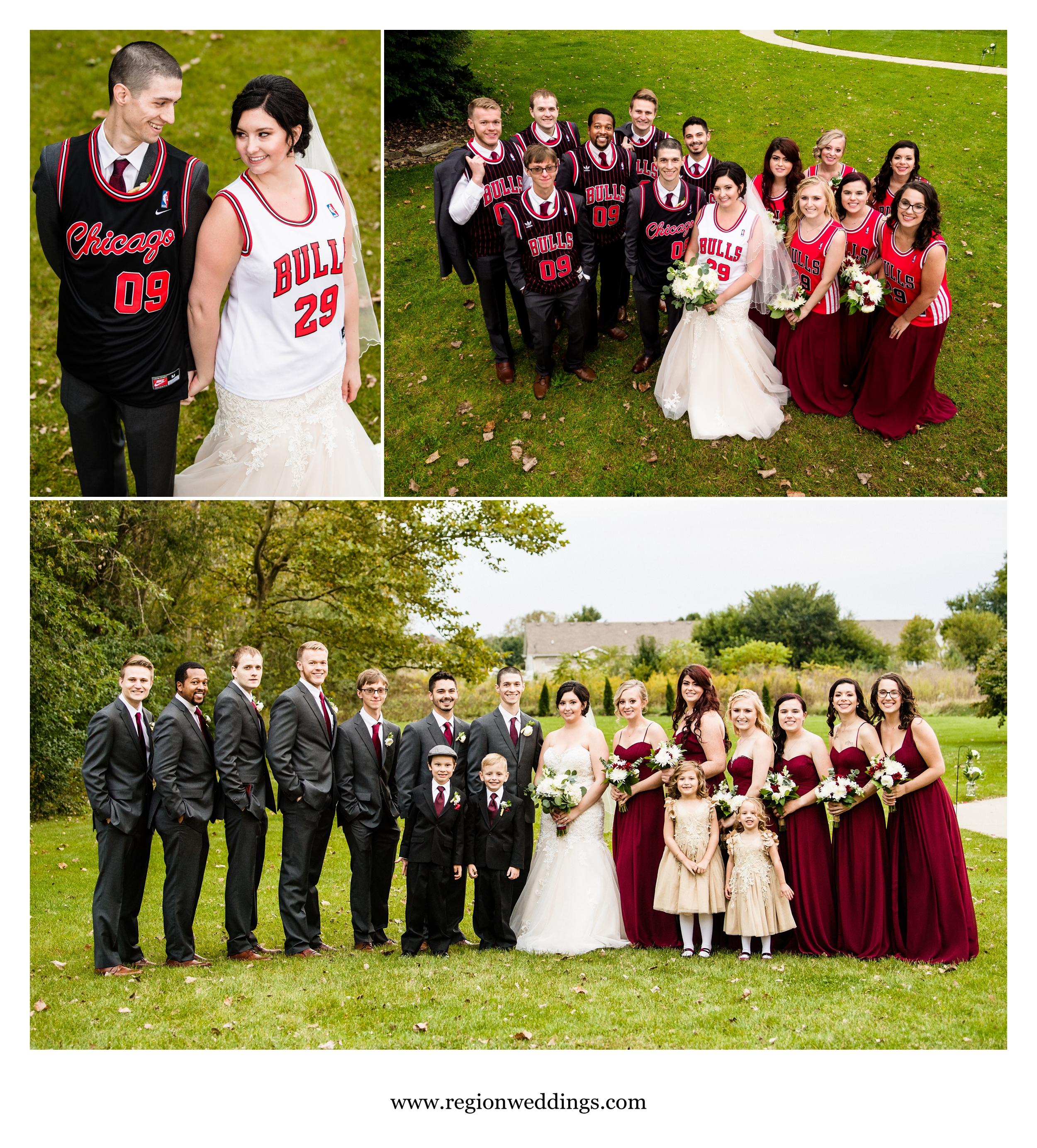 Chicago Bulls themed wedding photos.
