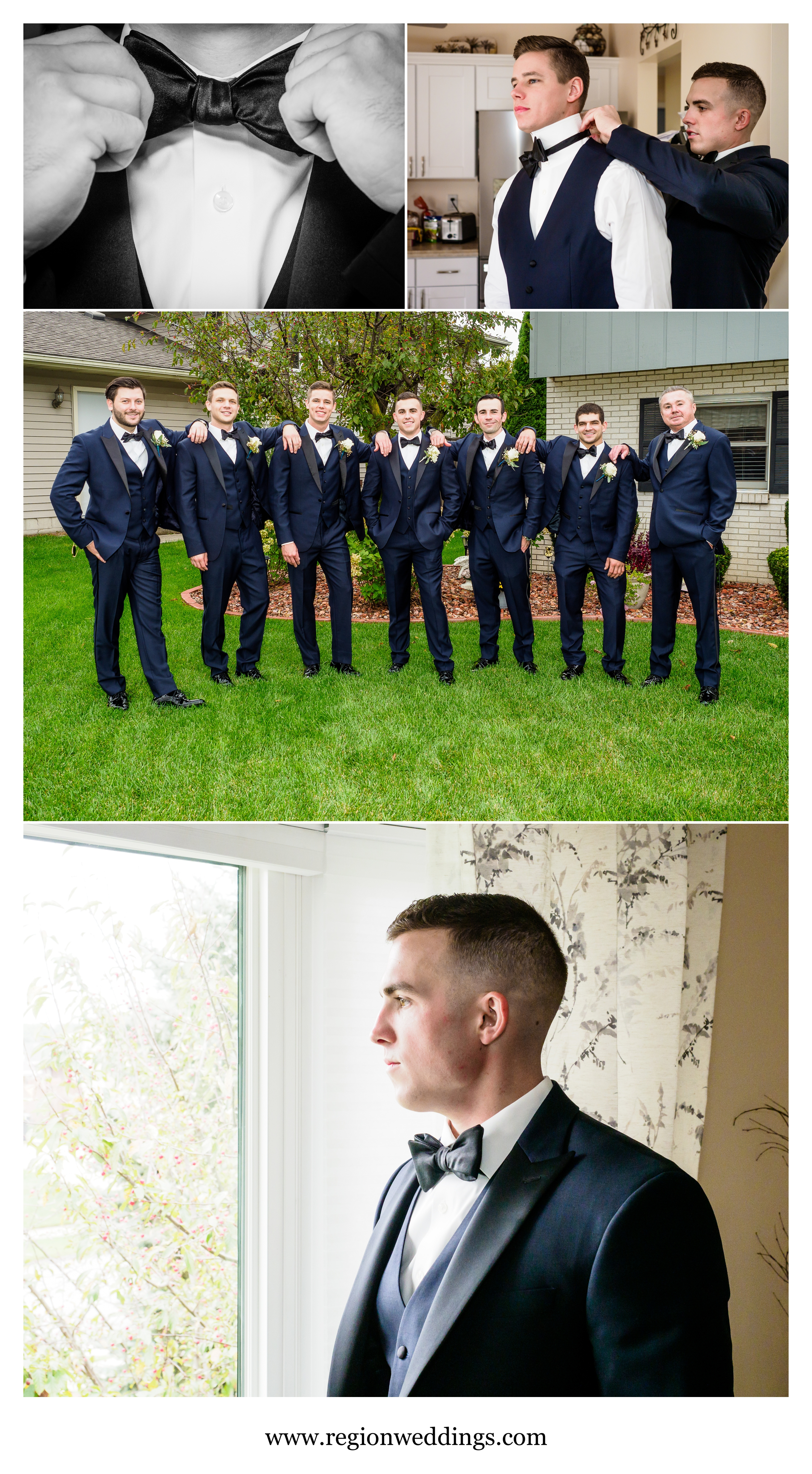 Groomsmen prep for an October wedding.