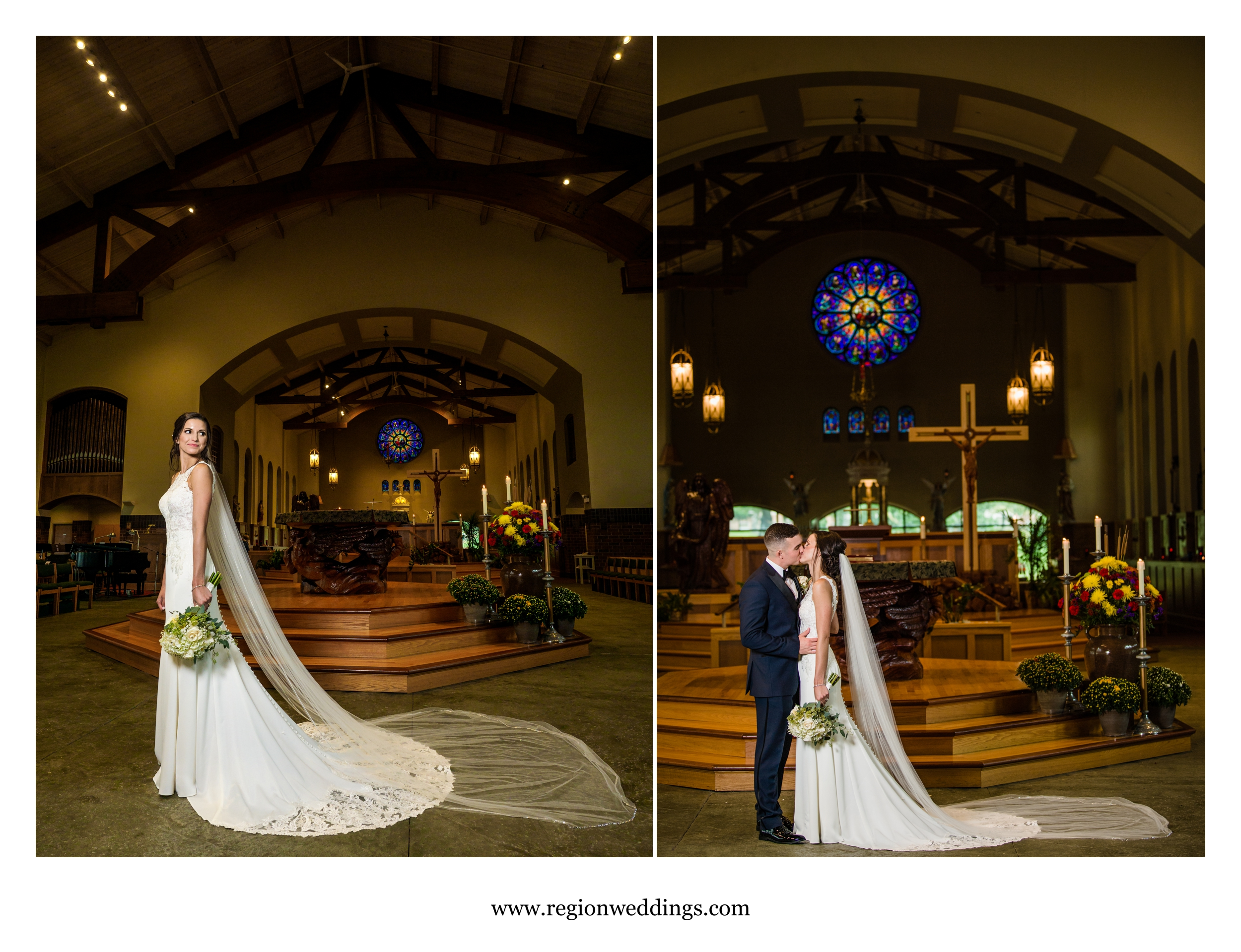 Formal photos of the bride and groom in church.