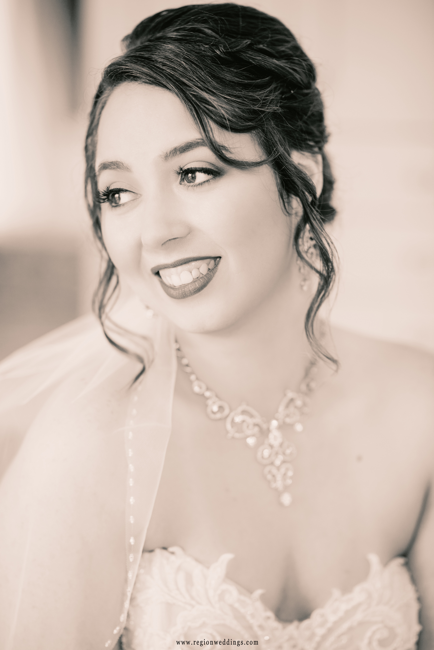 The beautiful bride on her big day in the bridal suite at Lighthouse Restaurant.