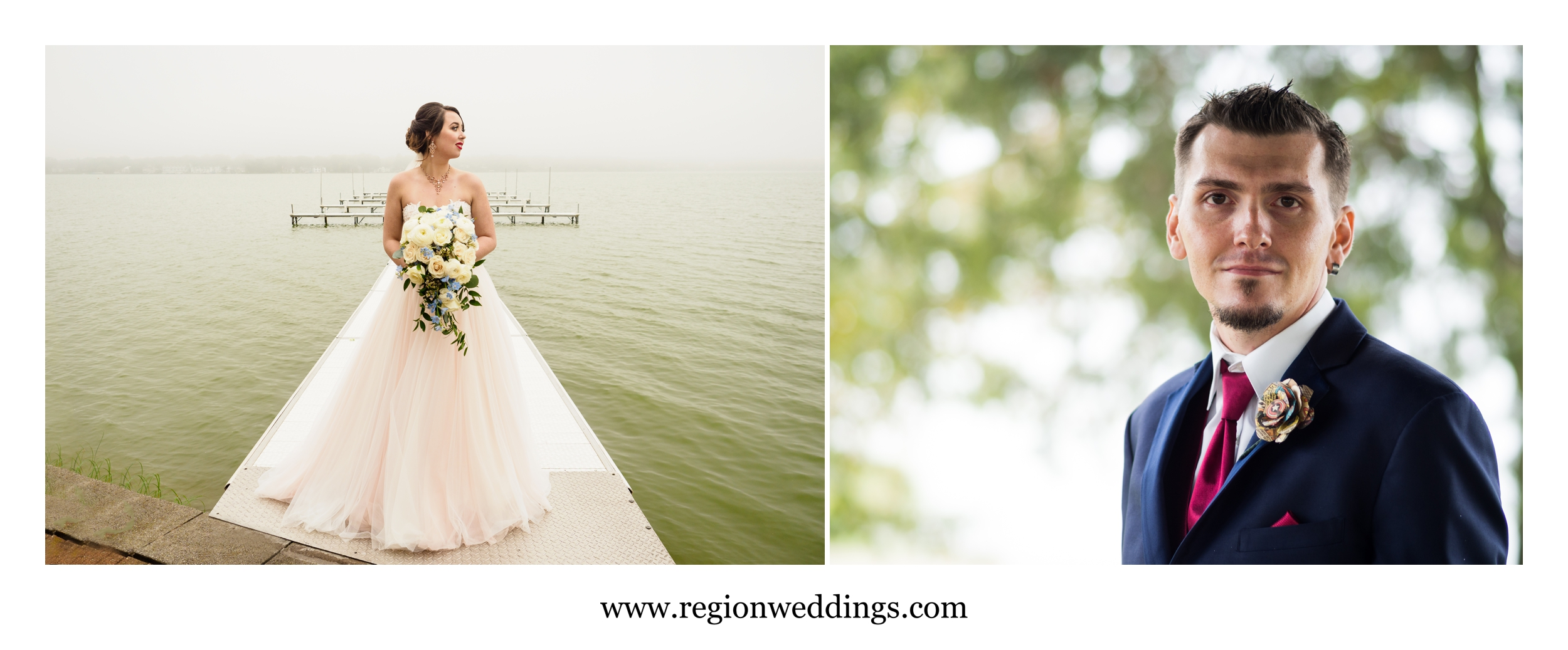 Bride and groom solo portraits at their Fall wedding.