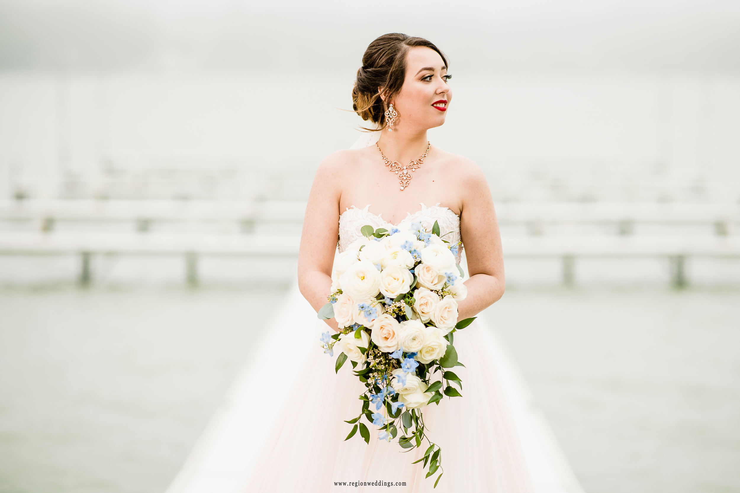 Bride on the pier on Cedar Lake.
