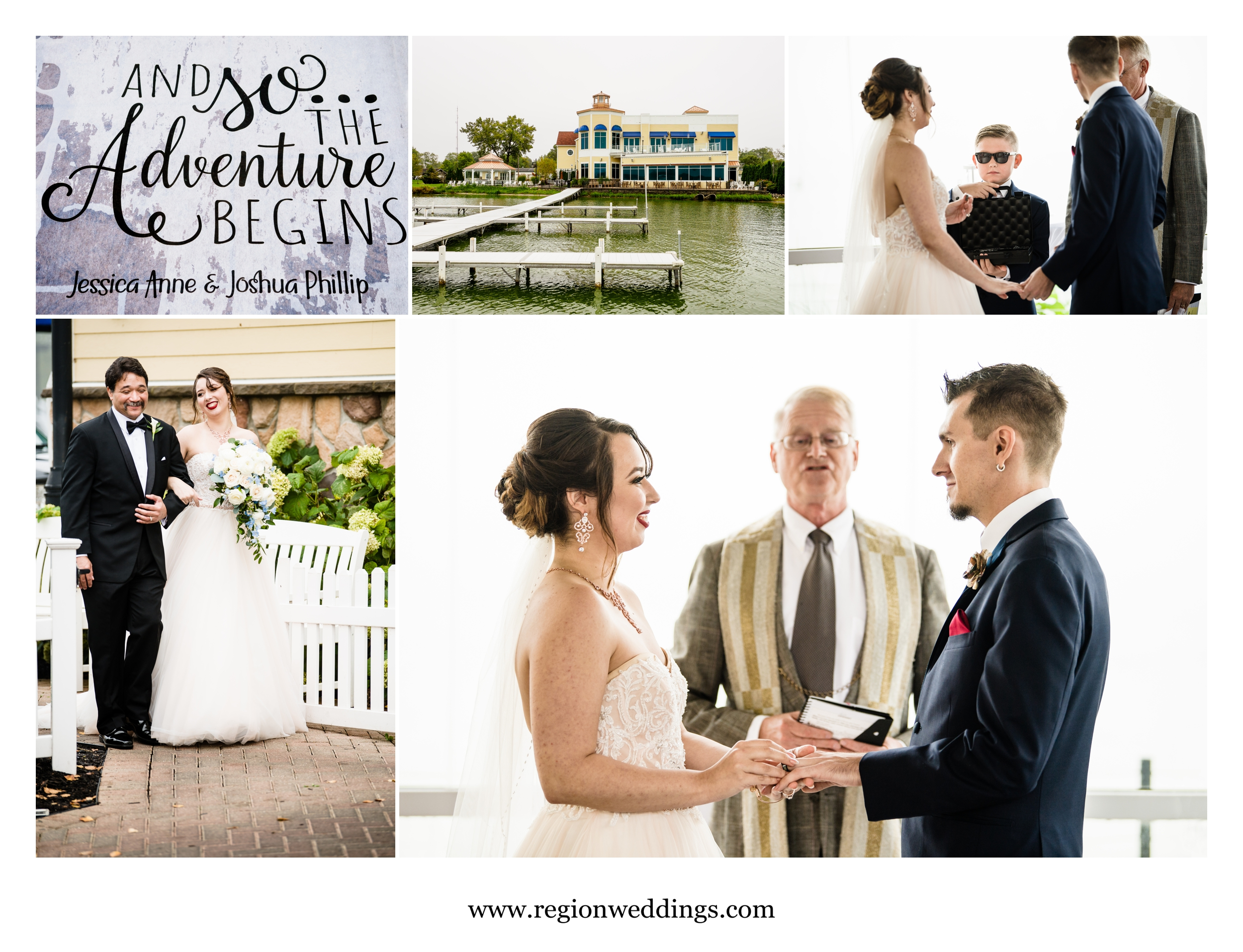 Outdoor wedding ceremony at Lighthouse Restaurant.