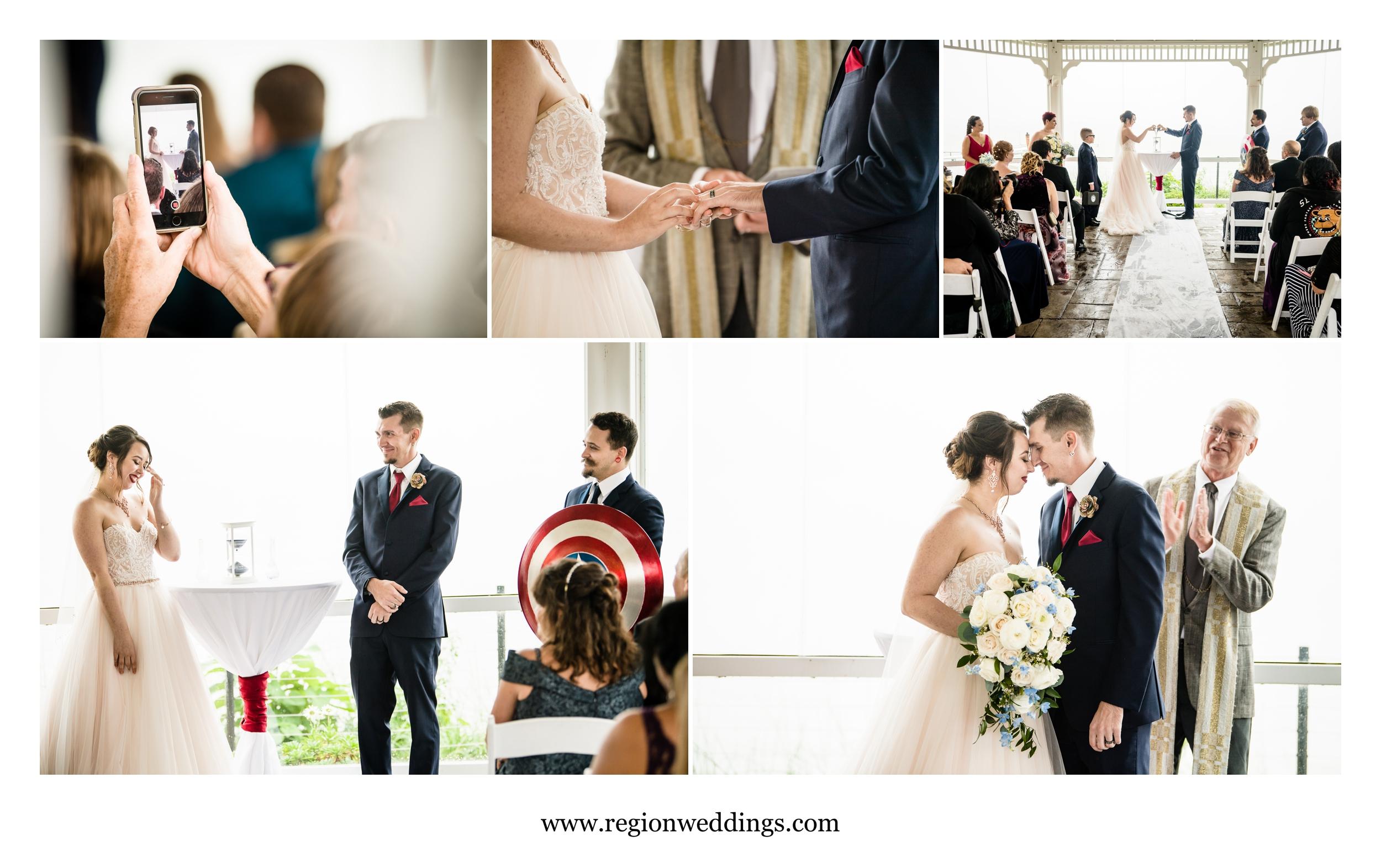 Wedding ceremony inside the Lighthouse gazebo in Cedar Lake.