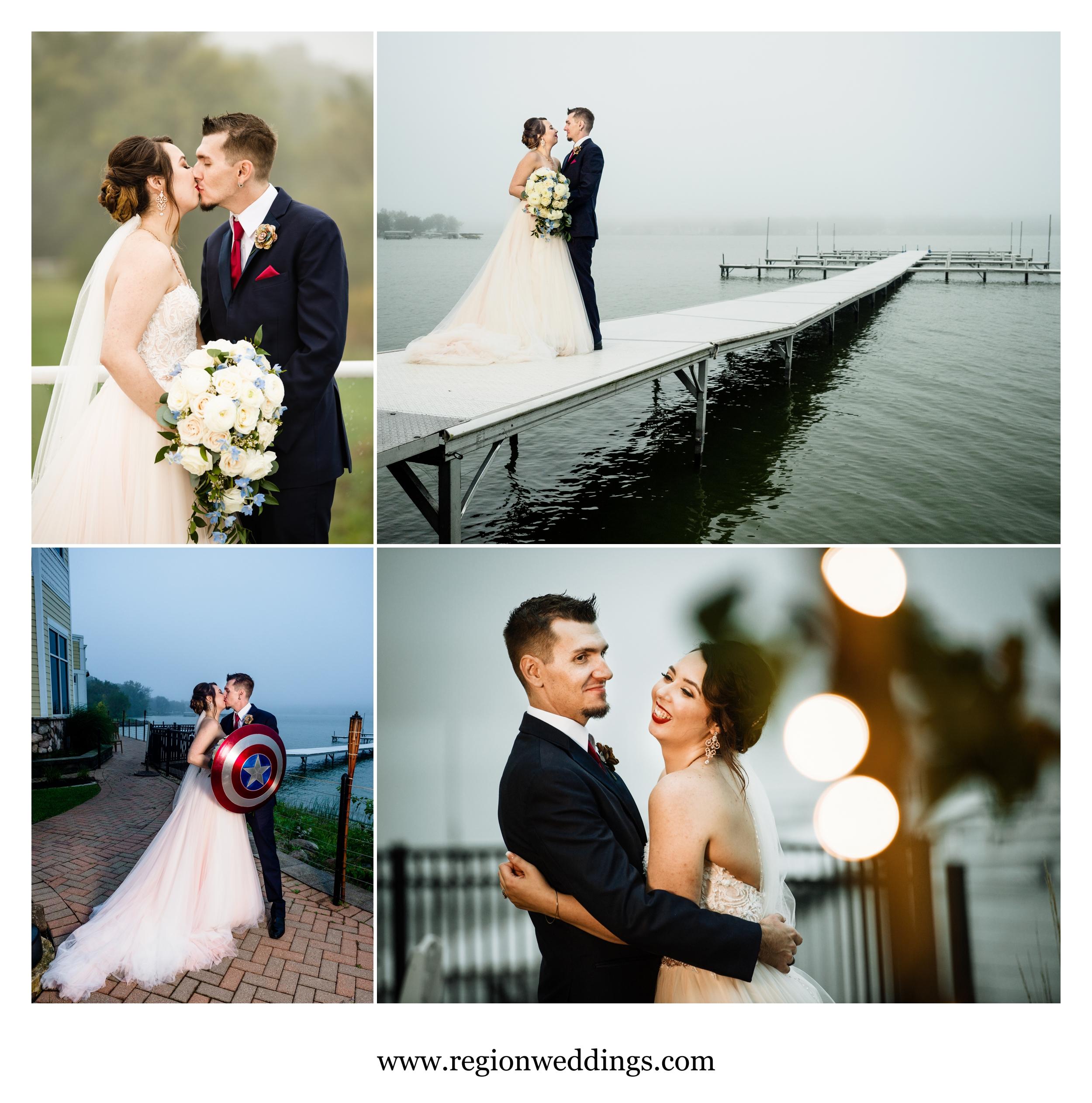 Wedding portraits at Lighthouse Restaurant in Cedar Lake, Indiana.