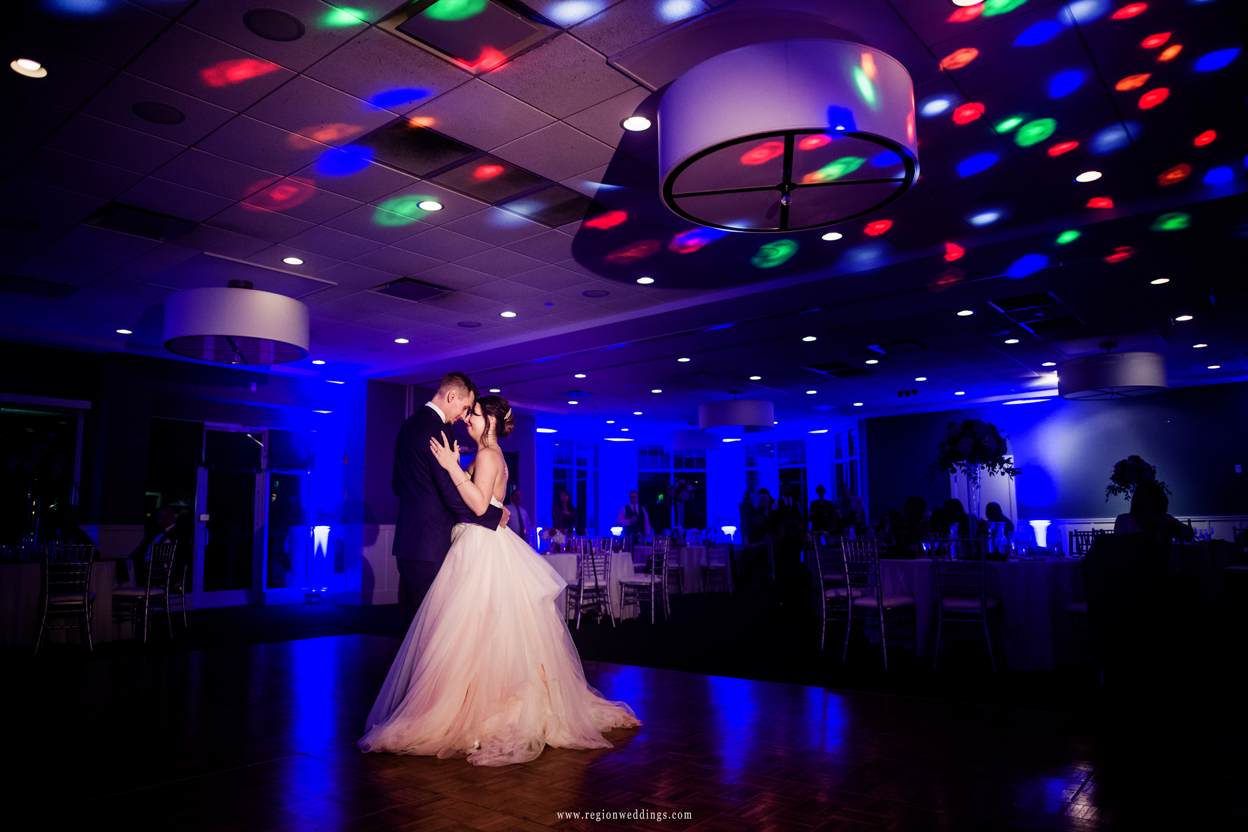 First dance for the bride and groom at Lighthouse in Cedar Lake.