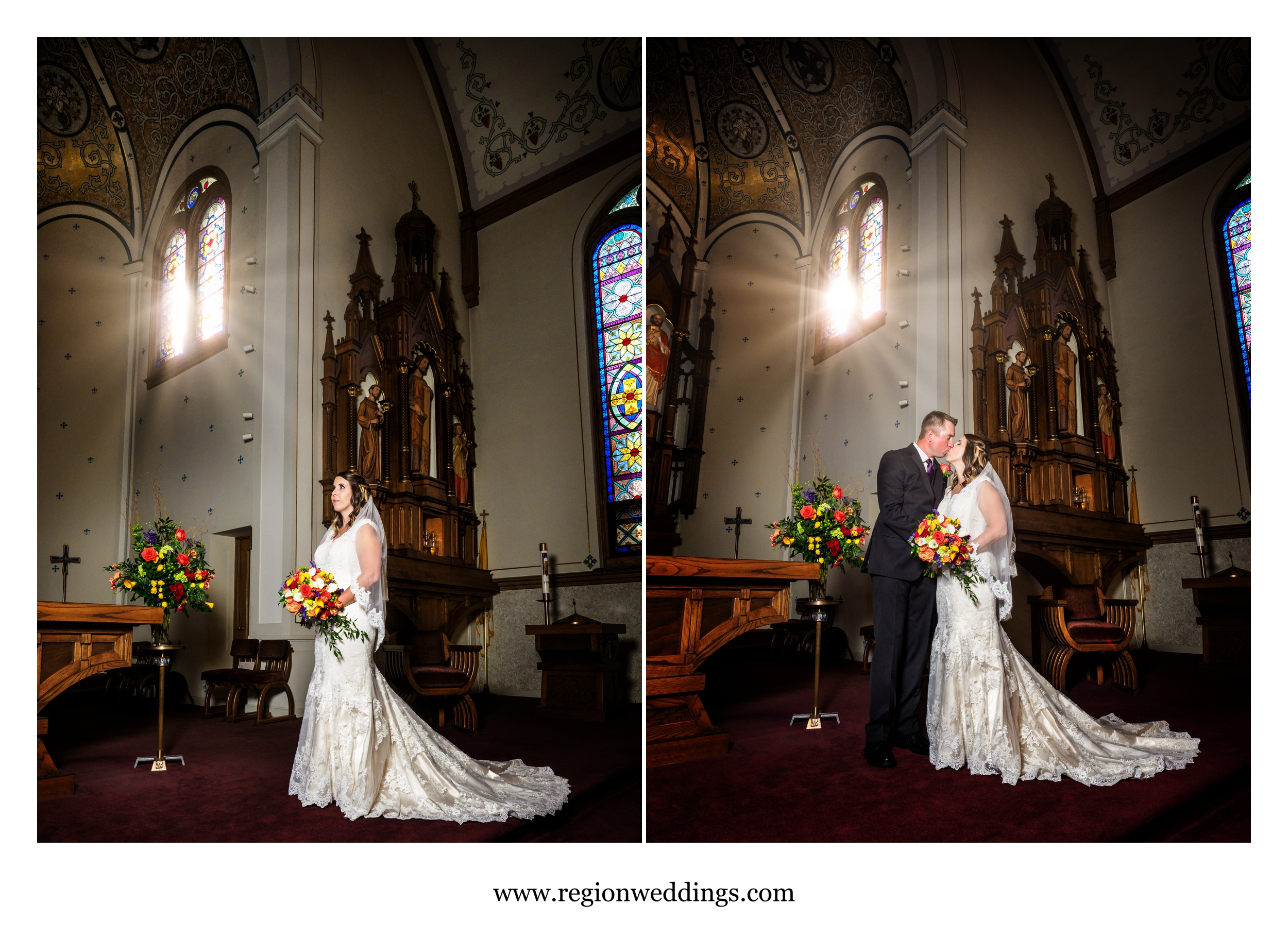 Bride and groom on the altar at St. Mary Catholic Church in Crown Point, Indiana.