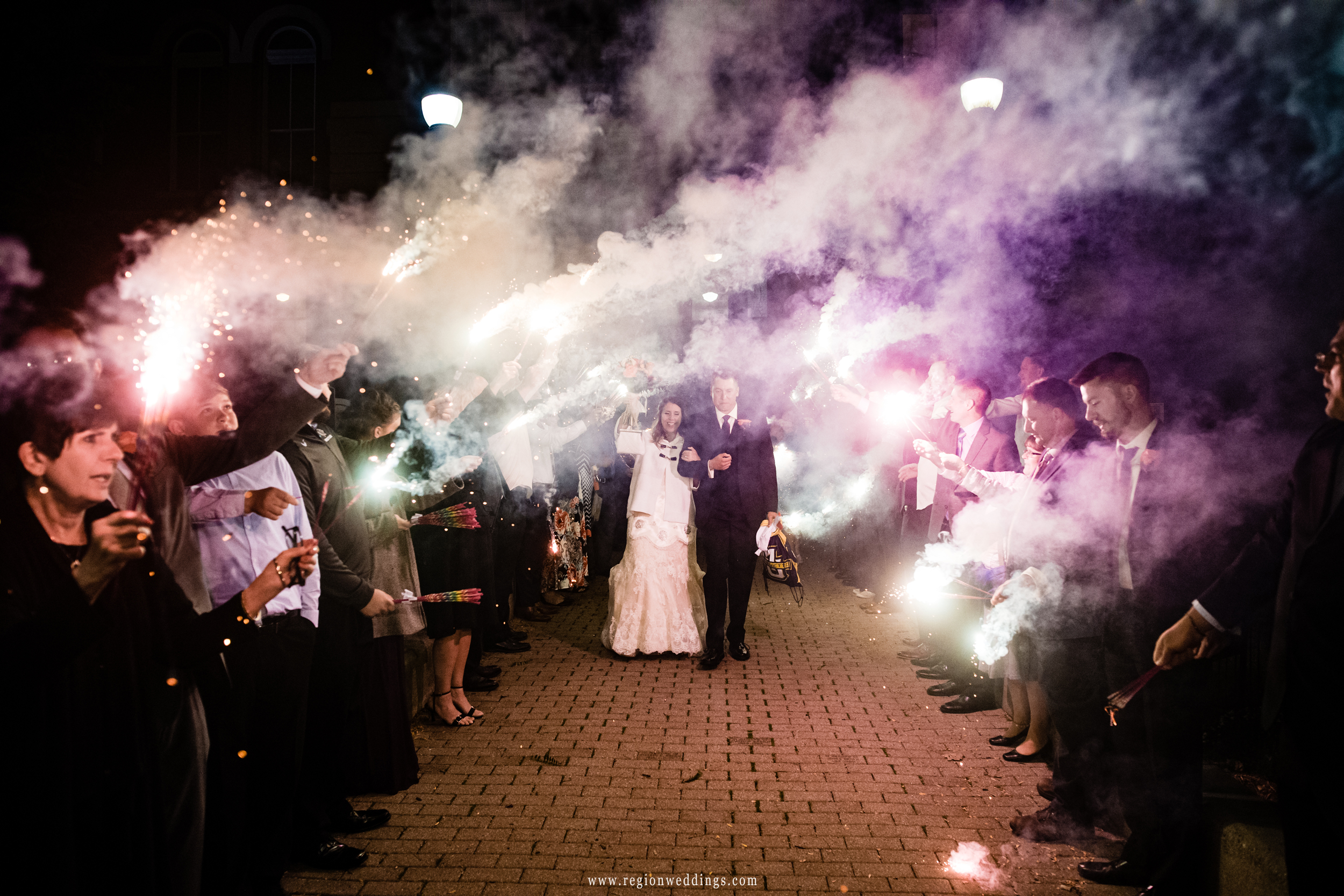 Sparkler exit for the bride and groom at the old Crown Point Courthouse.
