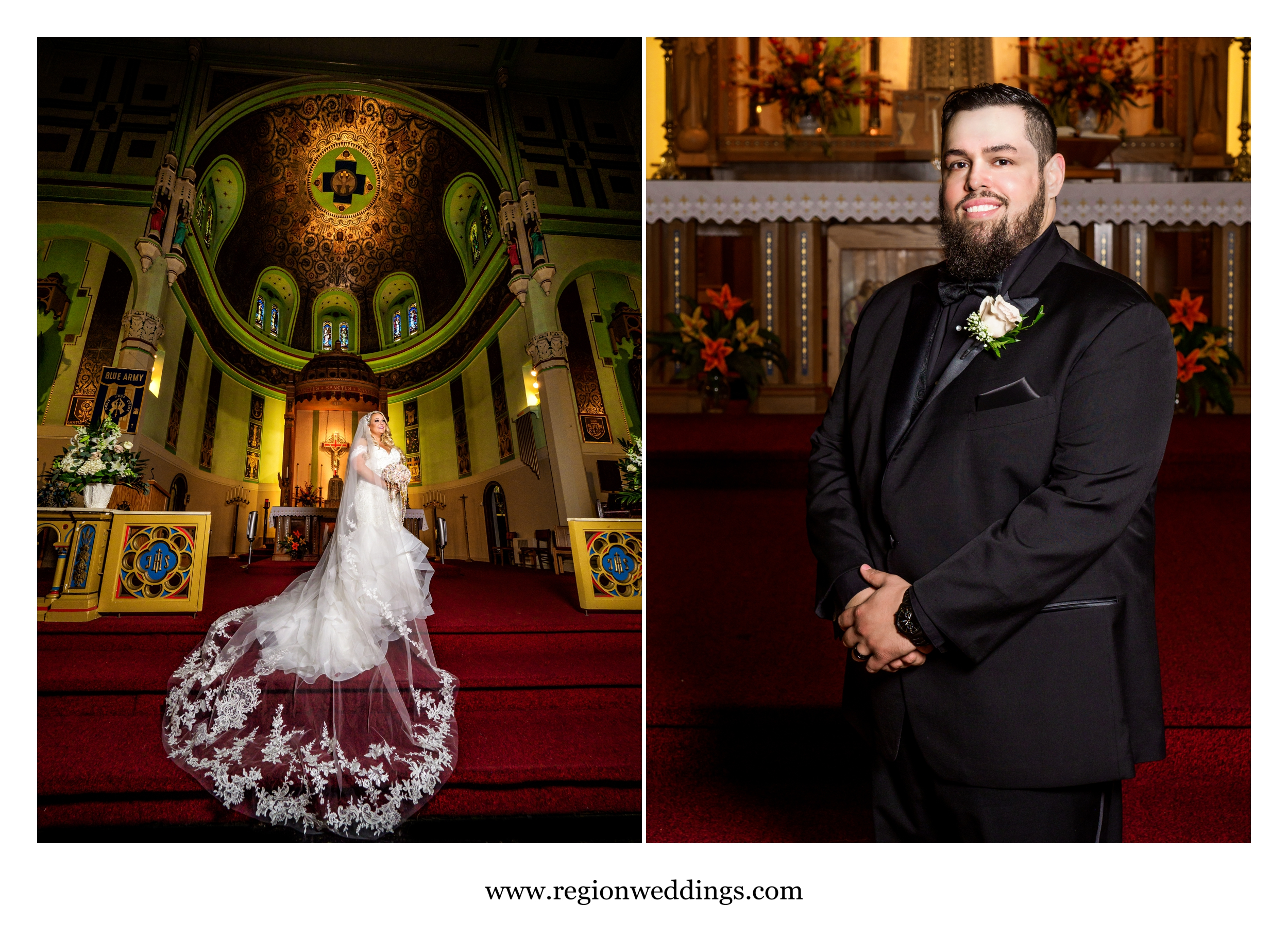 Bride and groom solo portraits on the altar at St. Stanislaus Kostka Catholic Church.