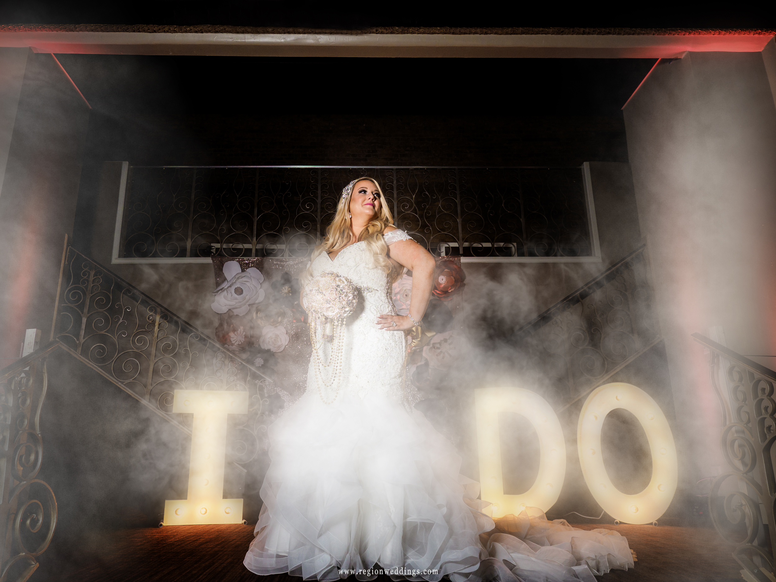 The bride says 'I Do' at The Allure while surrounded by fog.