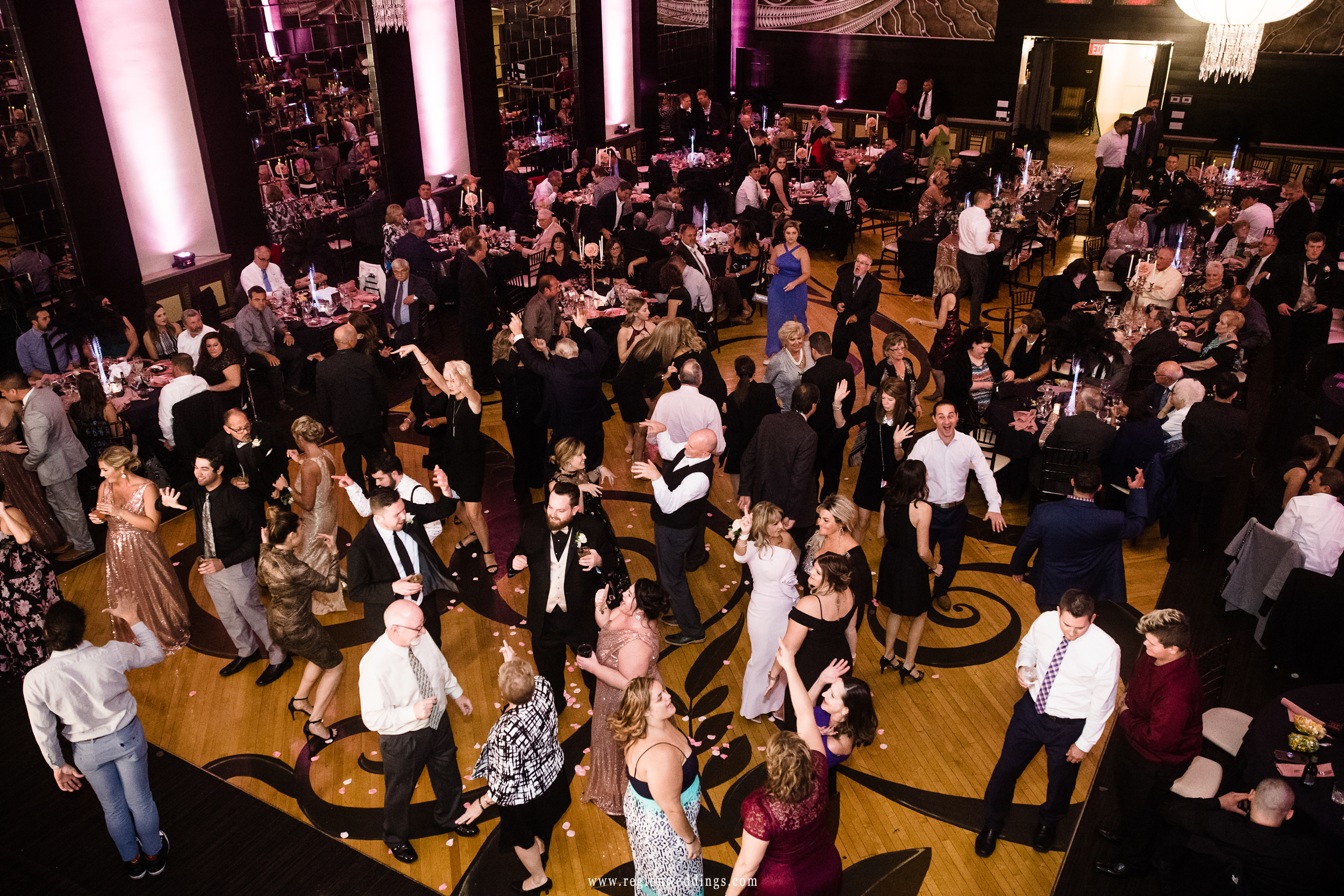 A packed dance floor at The Allure for a Fall wedding.
