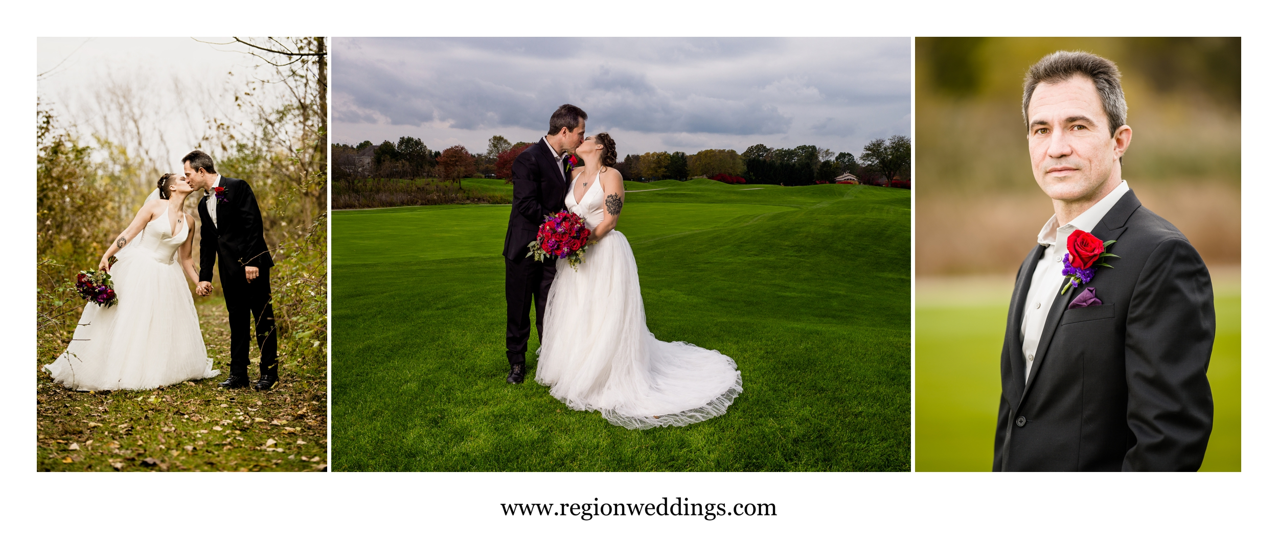 Wedding portraits at Sand Creek Country Club.