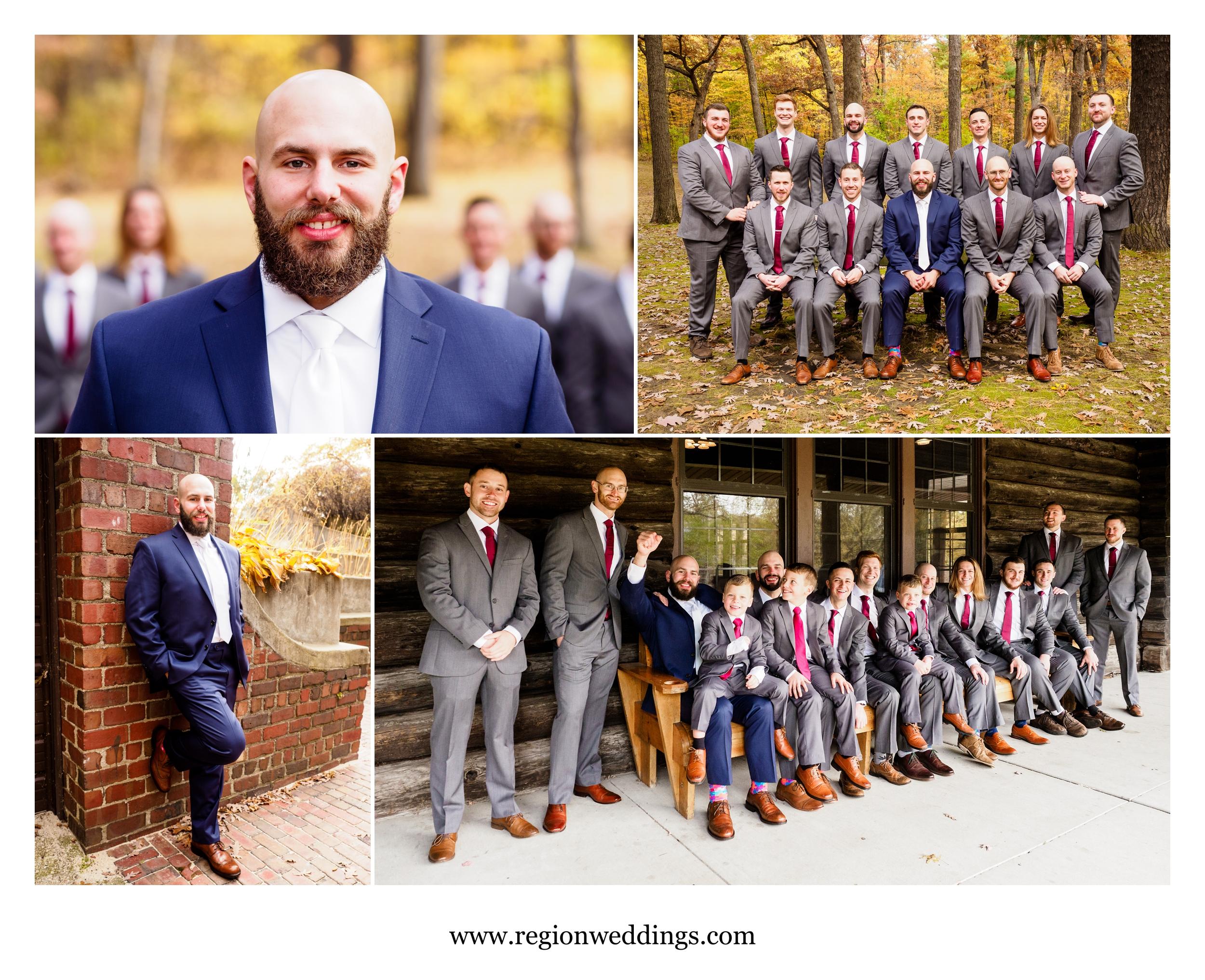 Groom and his groomsmen at Kreuger Memorial Hall.