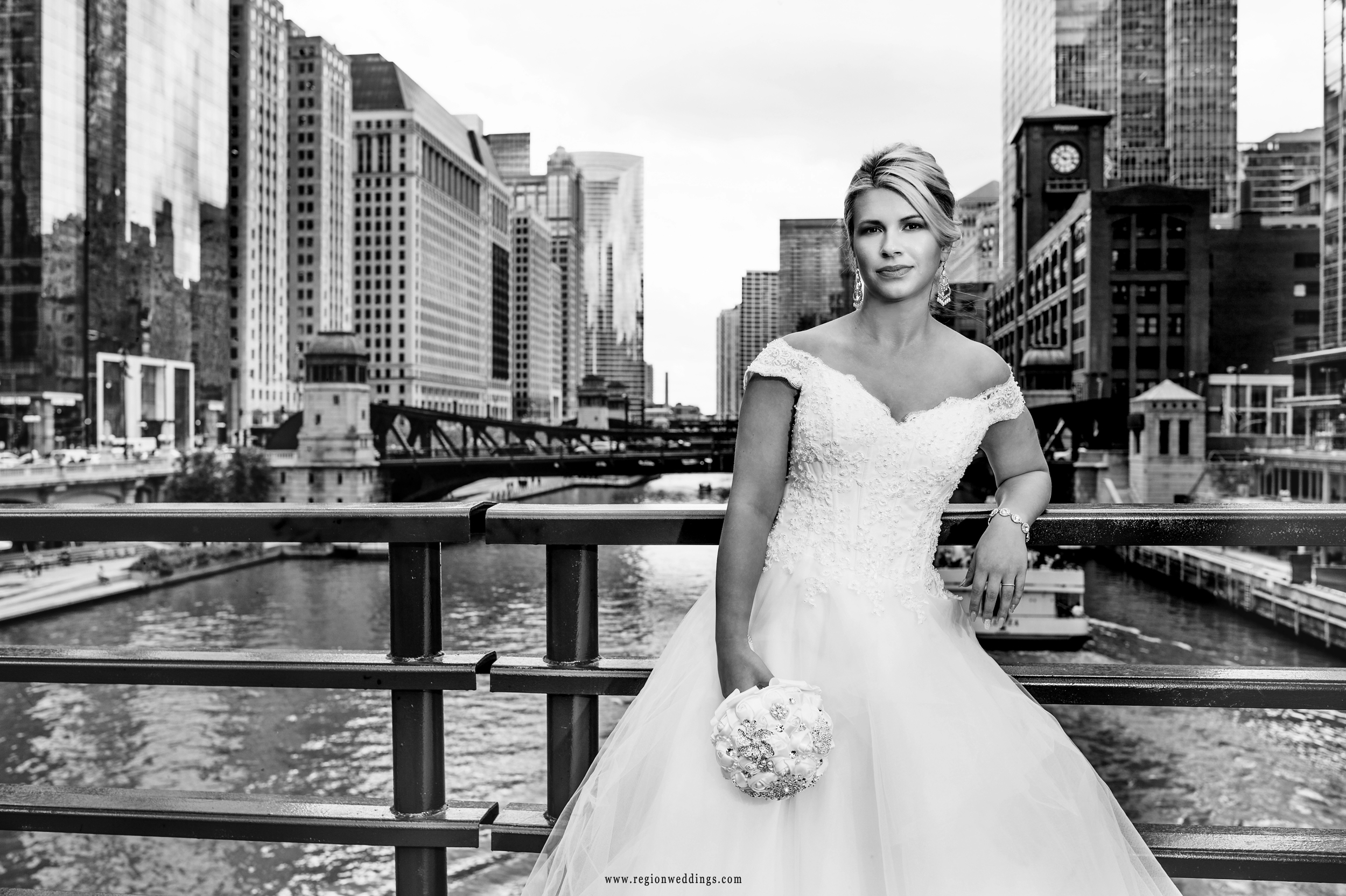 Black and white portrait on the Dearborn Street bridge in Chicago, Illinois.