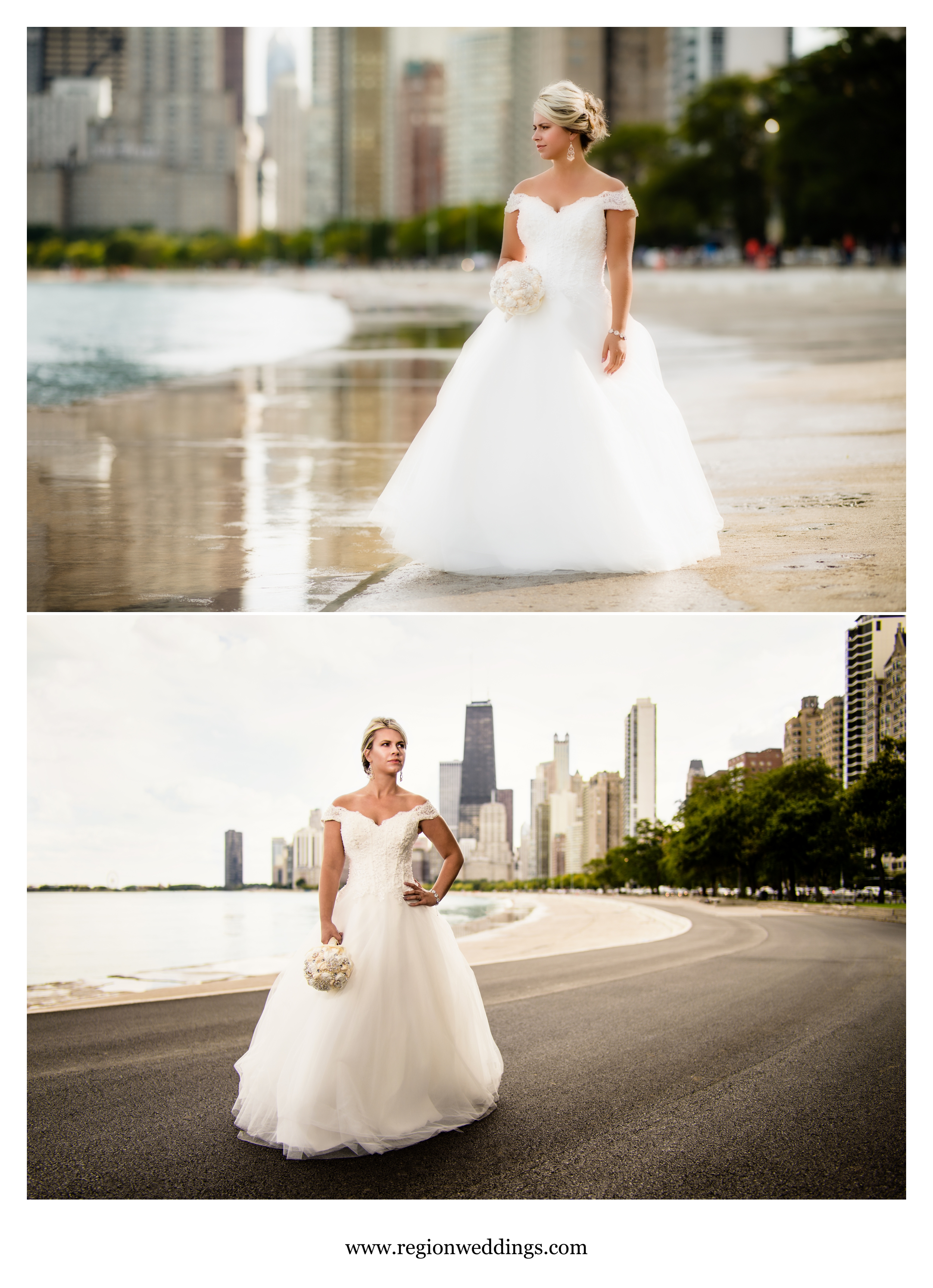 Images from a bridal portrait session in Chicago on North Avenue Beach.