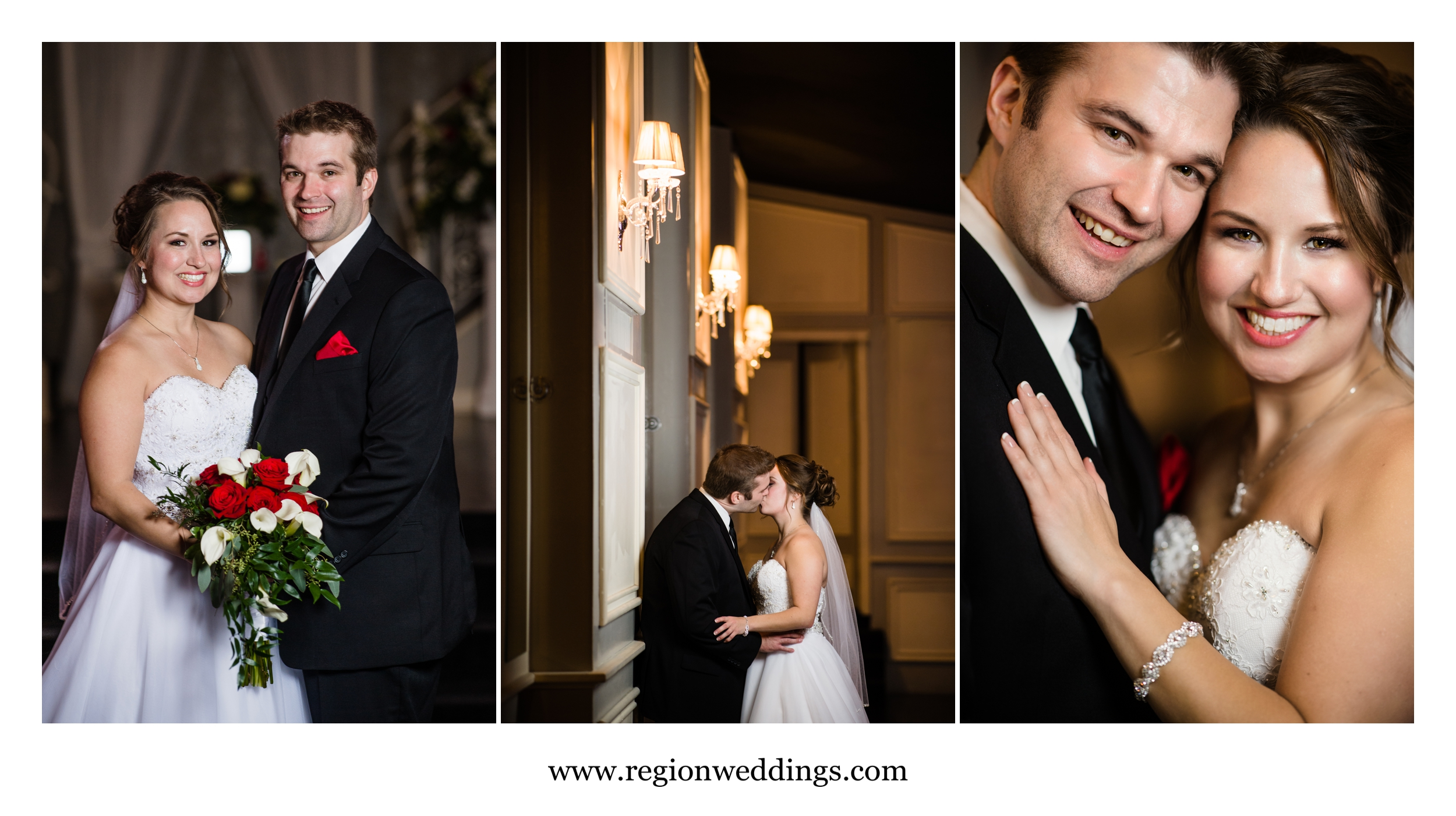 Bride and groom portraits at a winter wedding at Uptown Center.