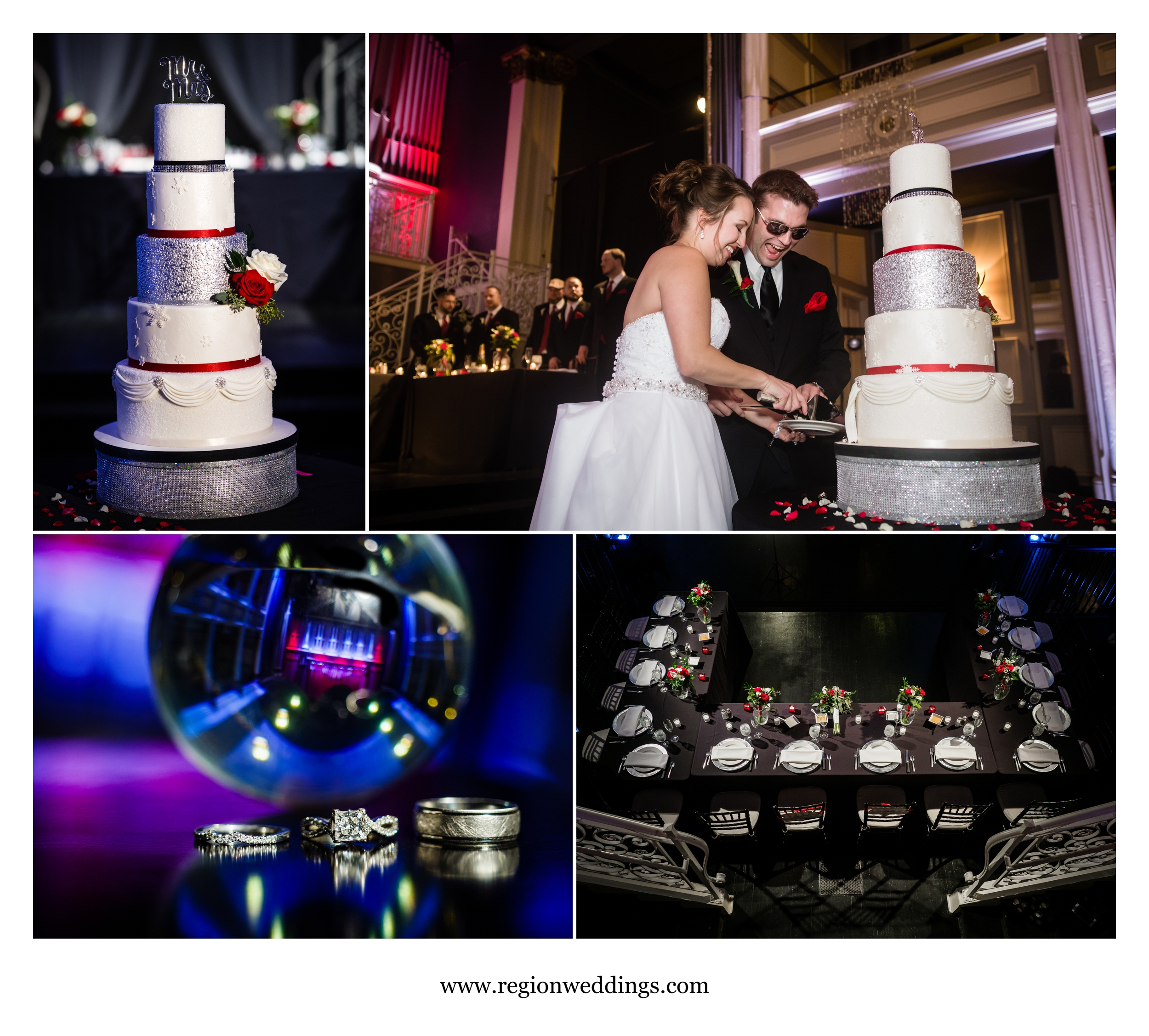 Images from a winter wedding reception at Uptown Center in Michigan City.