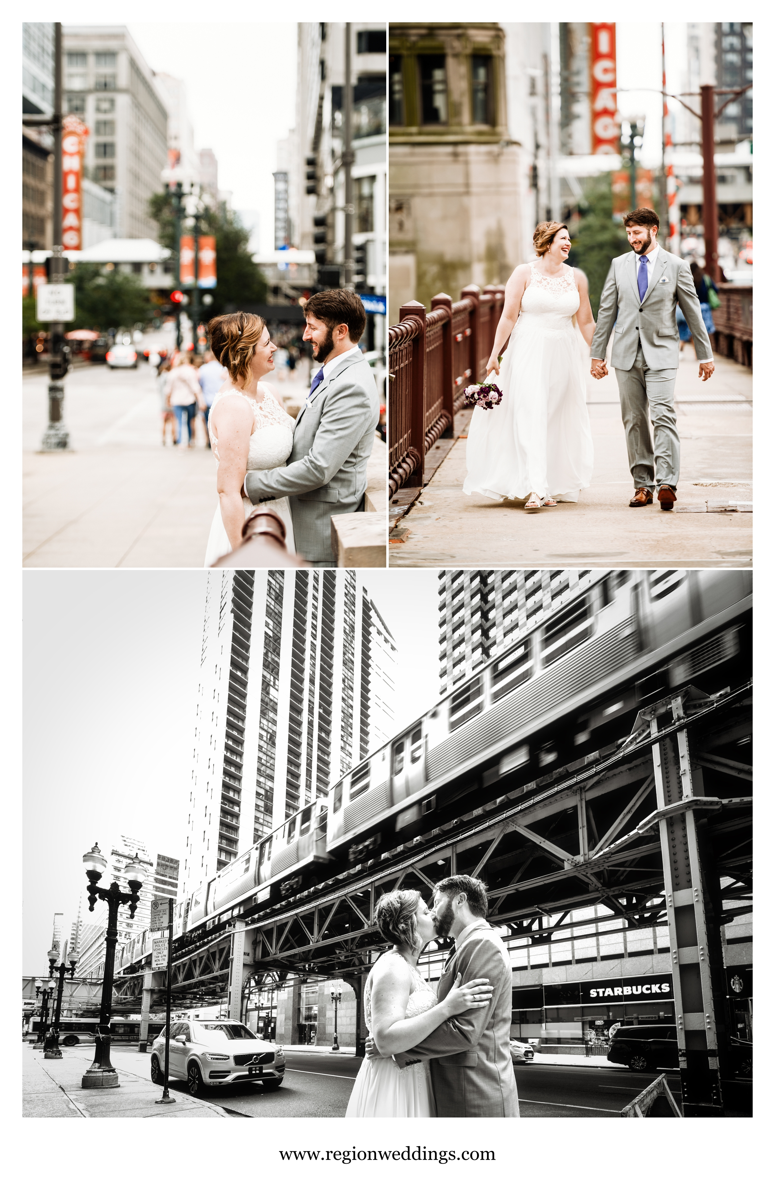 Bride and groom on the streets of Chicago on their wedding day.