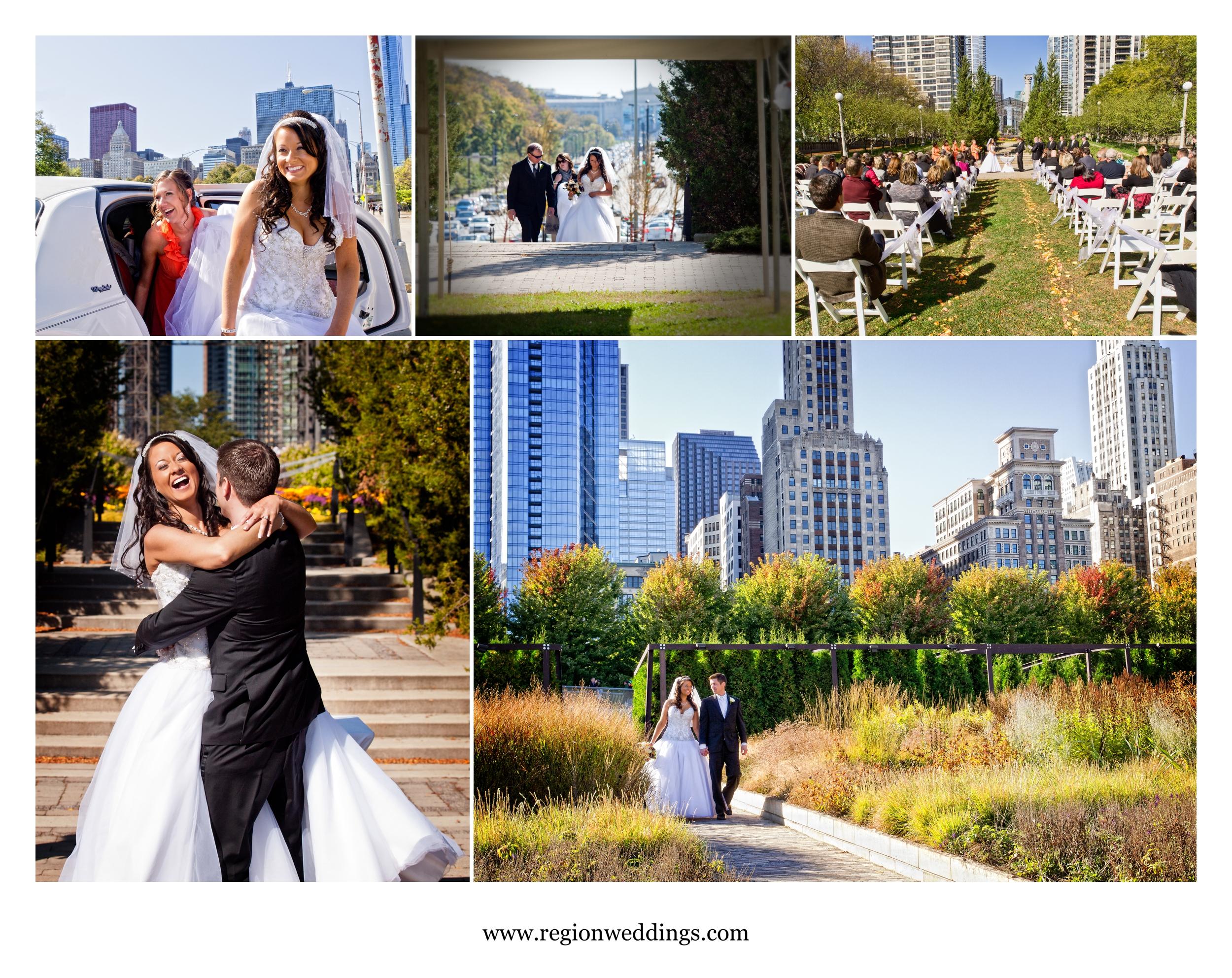 Outdoor Chicago wedding ceremony at the Cancer Survivor's Garden.