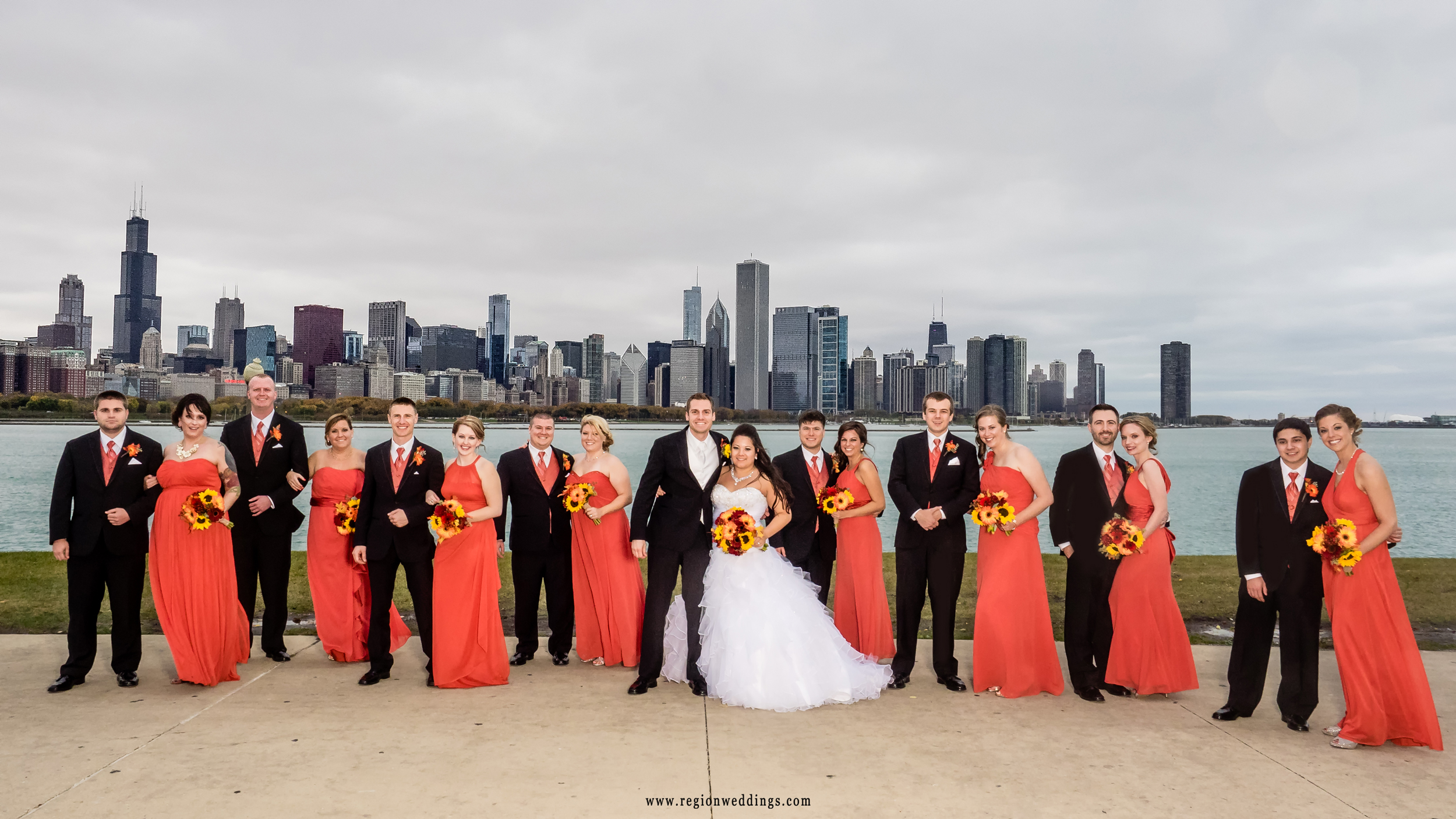 Wedding party group photo at Adler Planetarium with the skyline of Chicago as a backdrop.