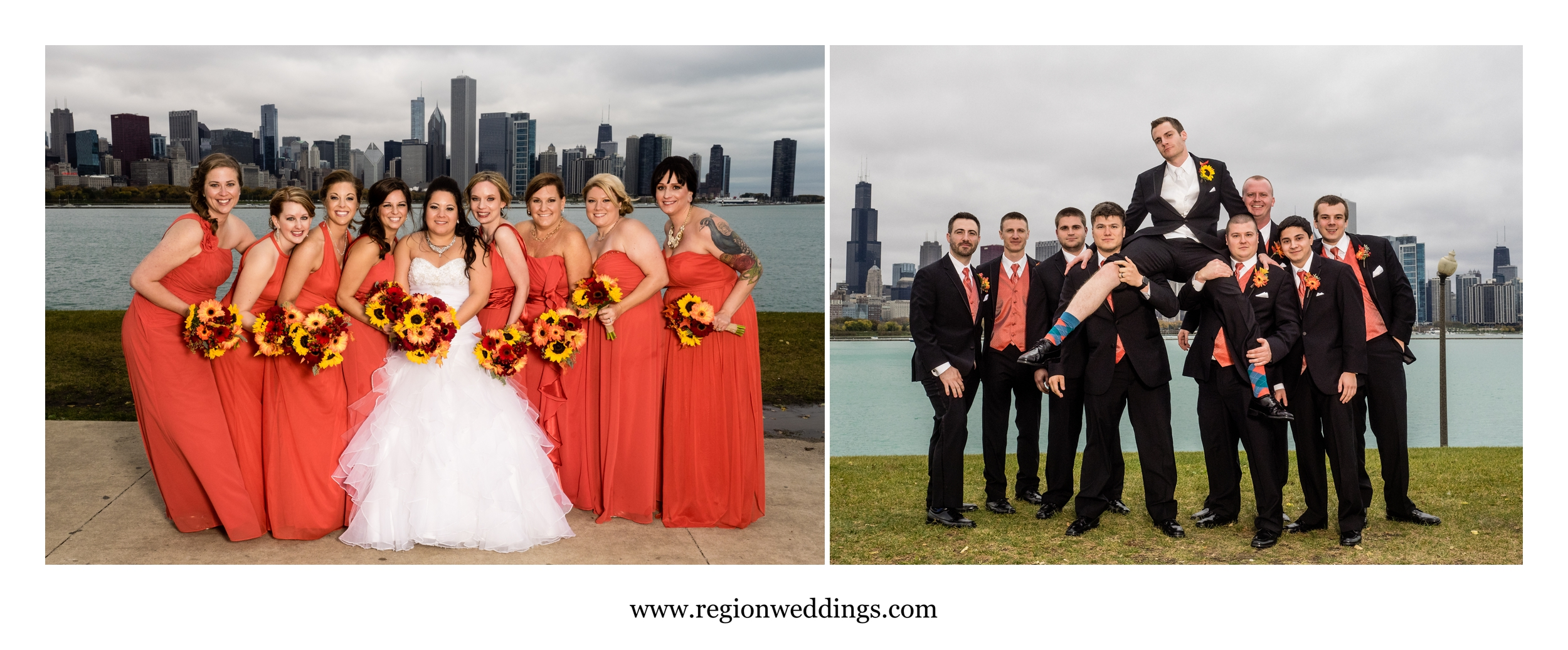 Bridesmaids and groomsmen off Lake Michigan in Chicago.