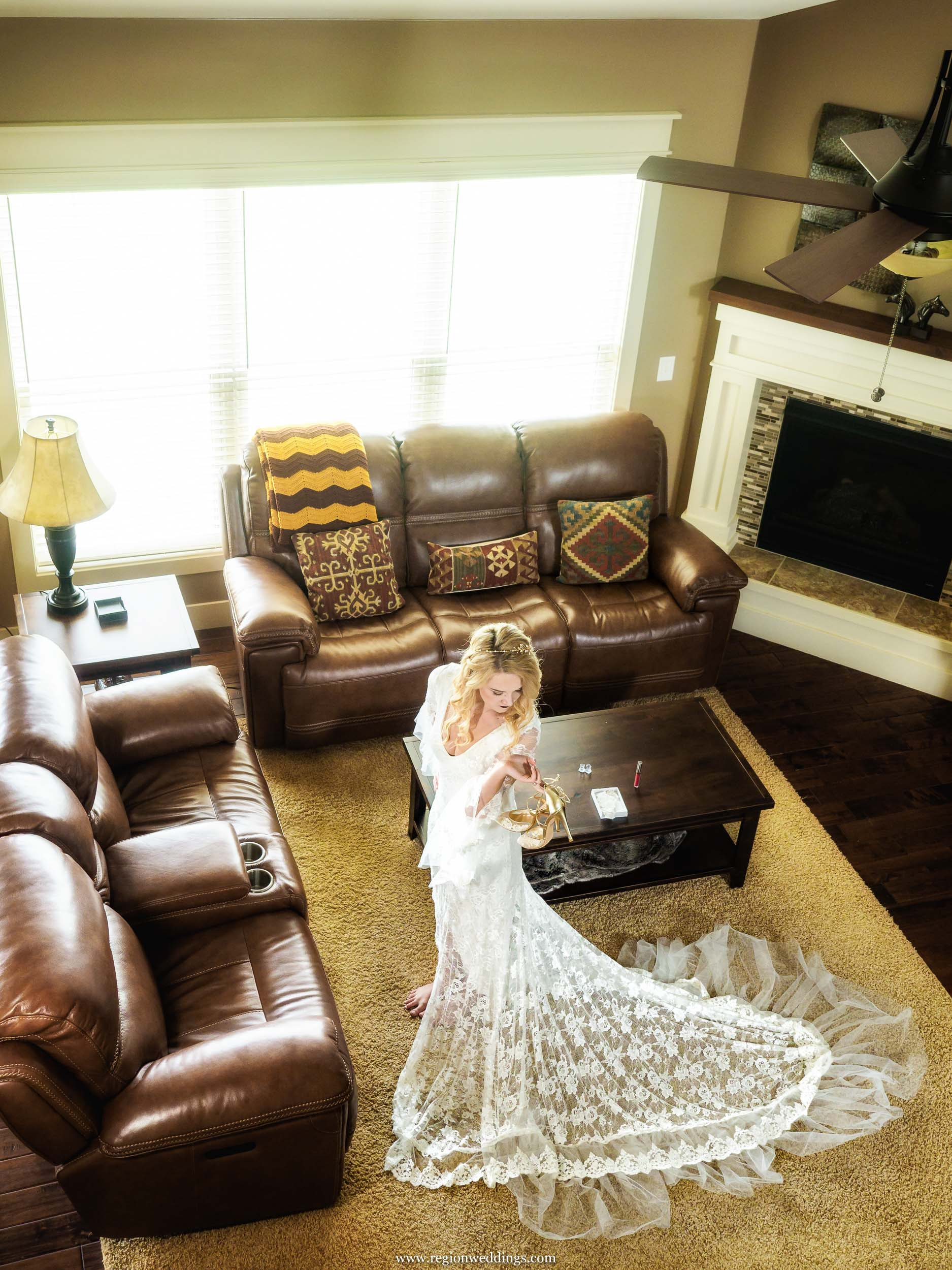 Boho bride from above during bridal prep for her big day.