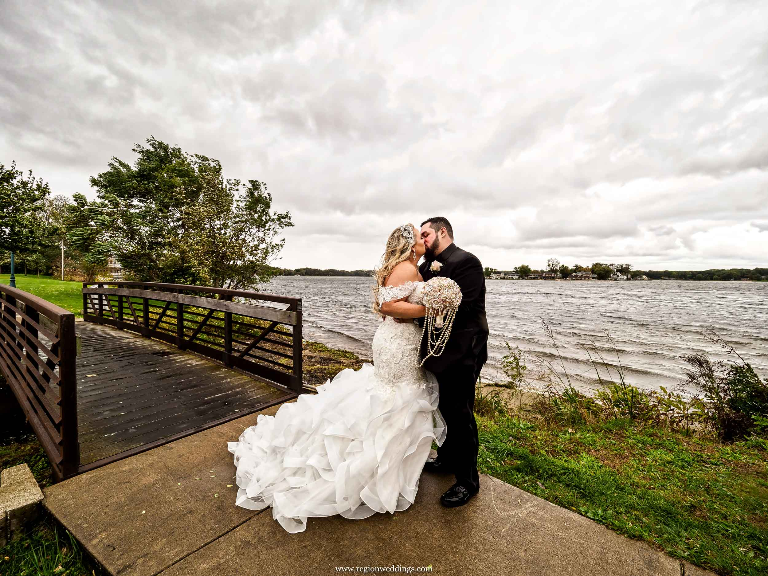 A wedding picture during a hailstorm in Laporte, Indiana.