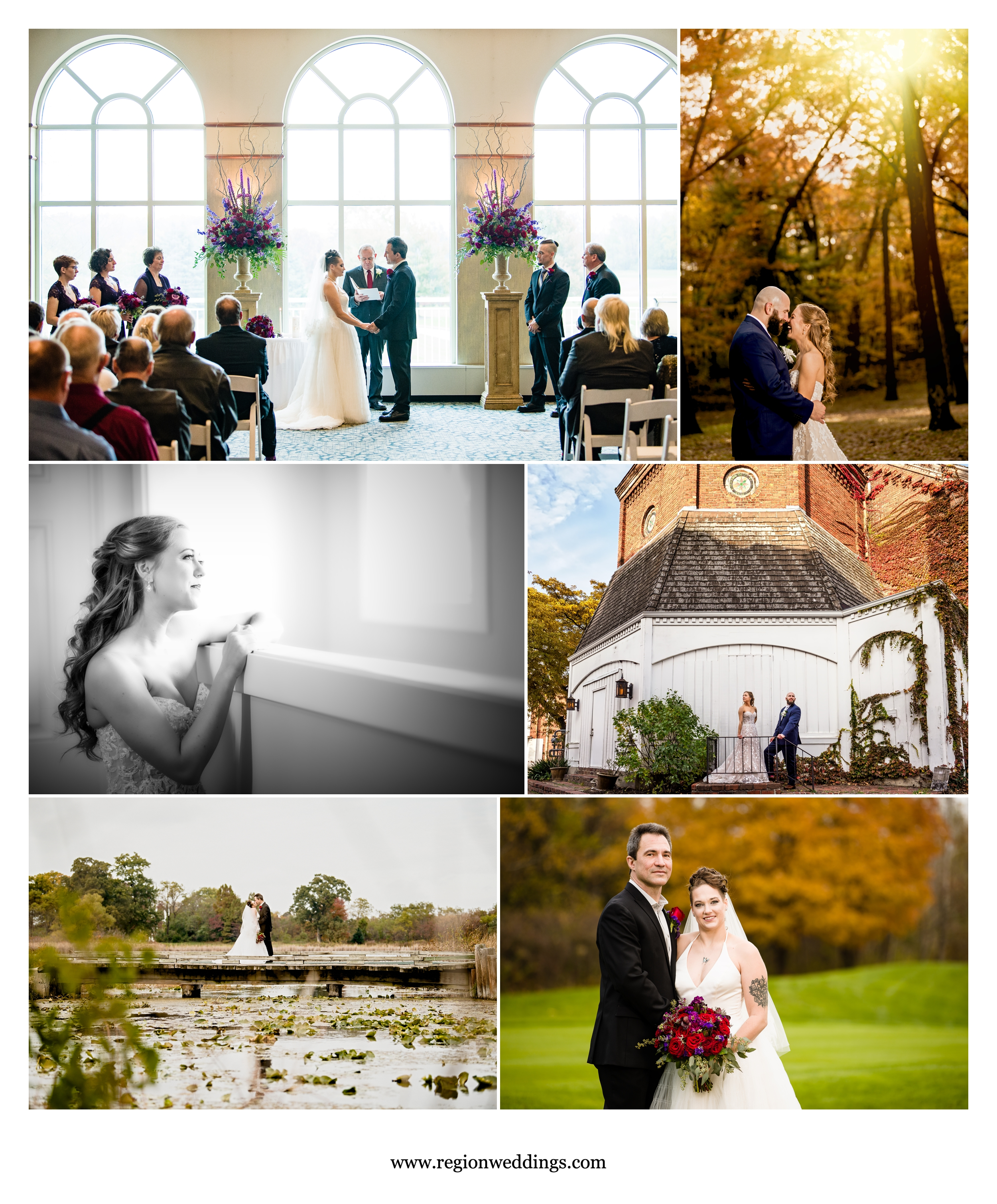 Fall weddings at Sand Creek Country Club and Krueger Memorial Hall.