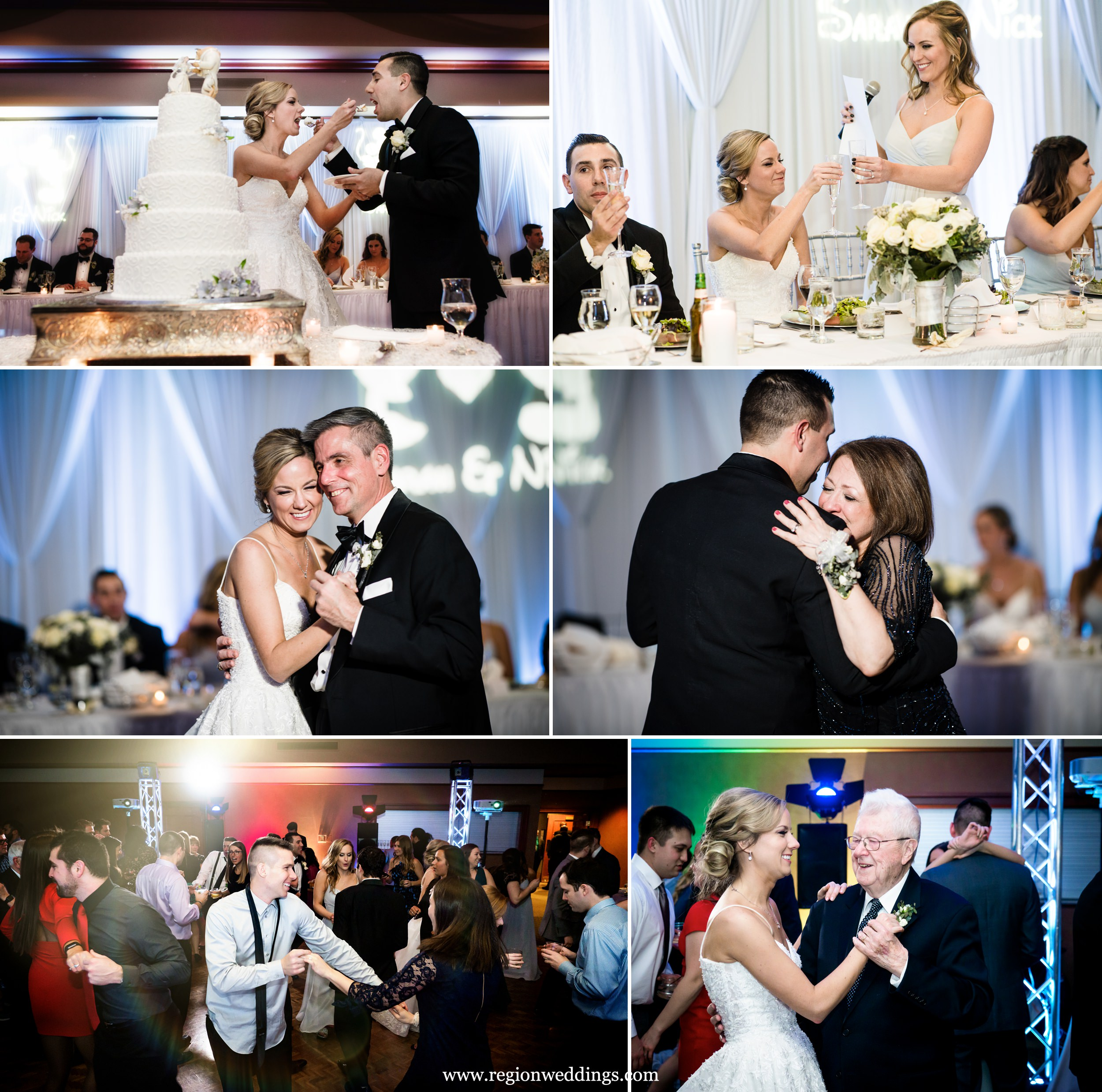 Winter wedding reception at Sand Creek Country Club in Chesterton, Indiana.