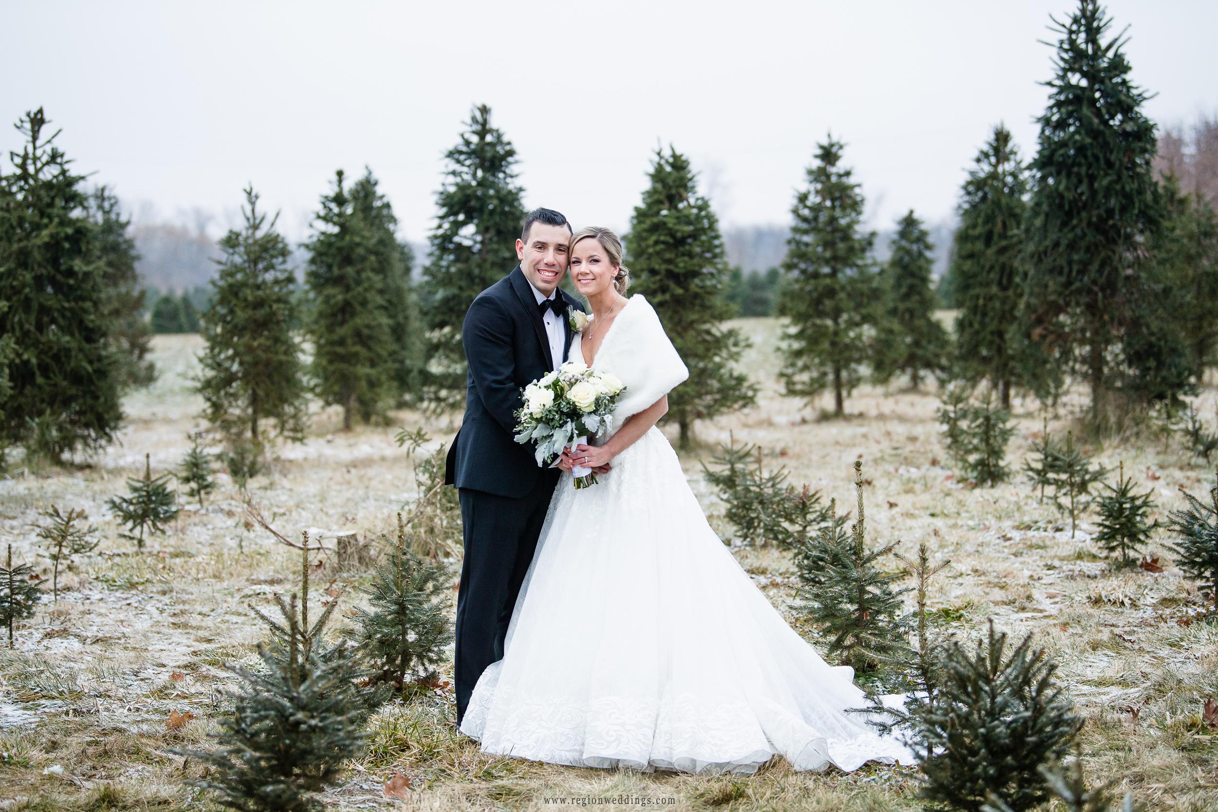 Bride and groom portrait at Kapitan Nursery tree farm.