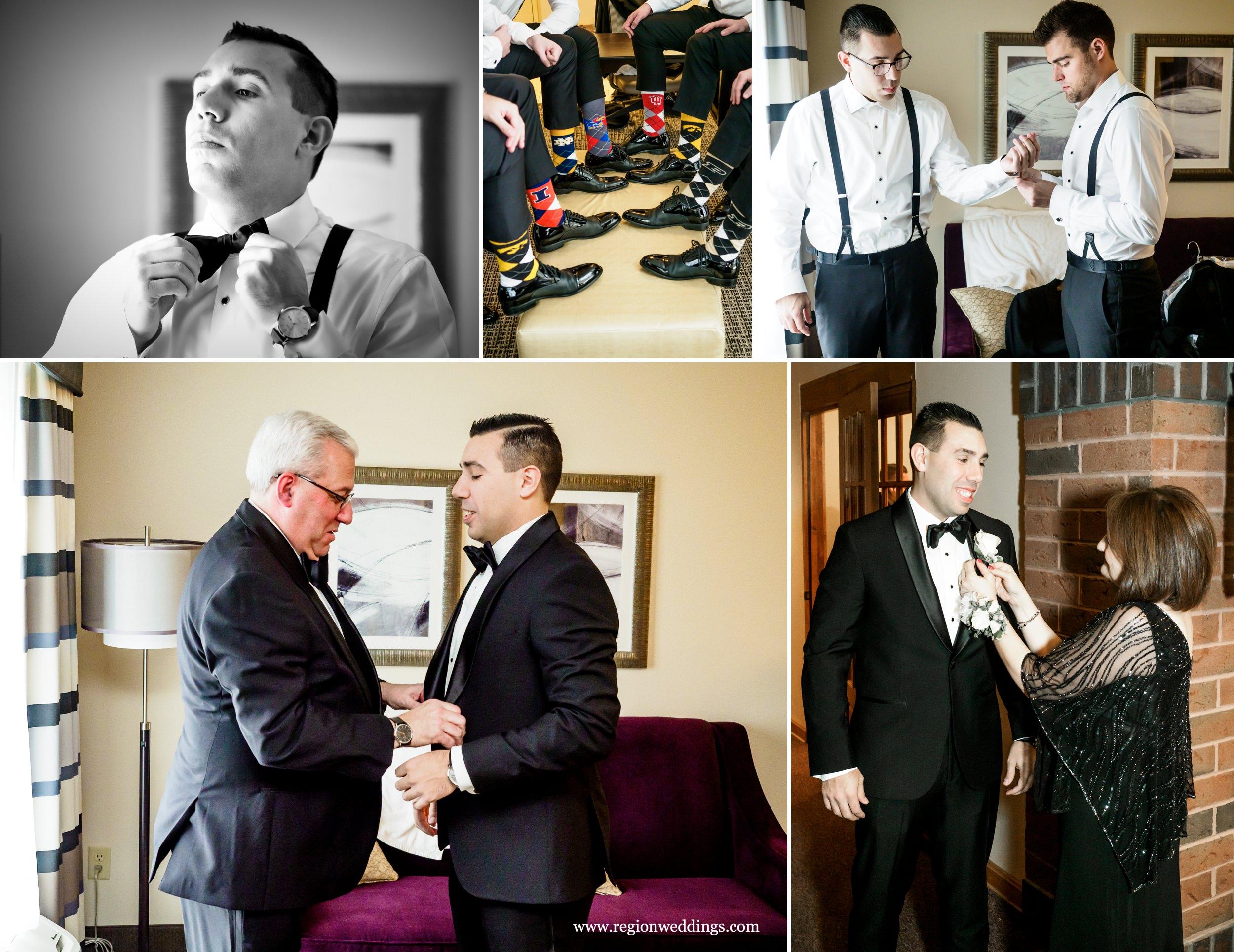 Groomsmen prep for a December wedding.