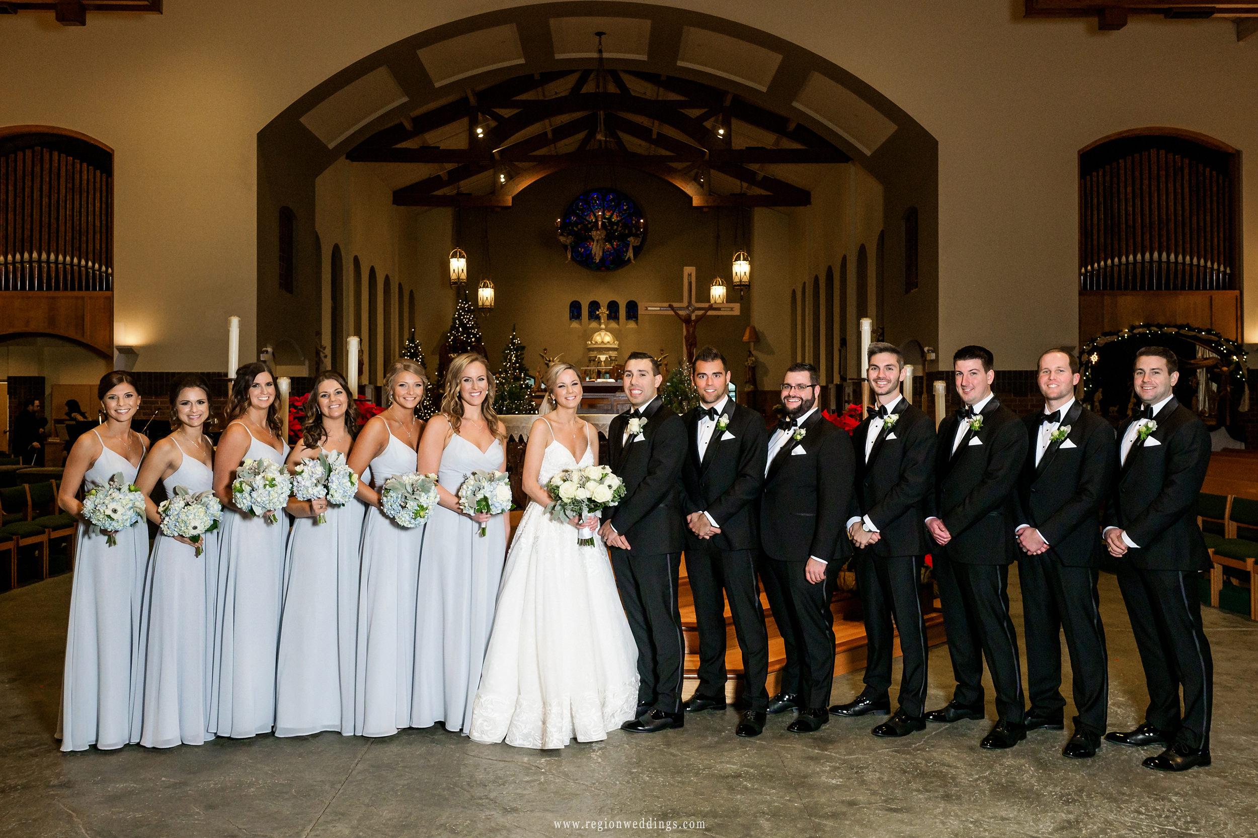 Wedding party group photo at St. Michael's Parish.
