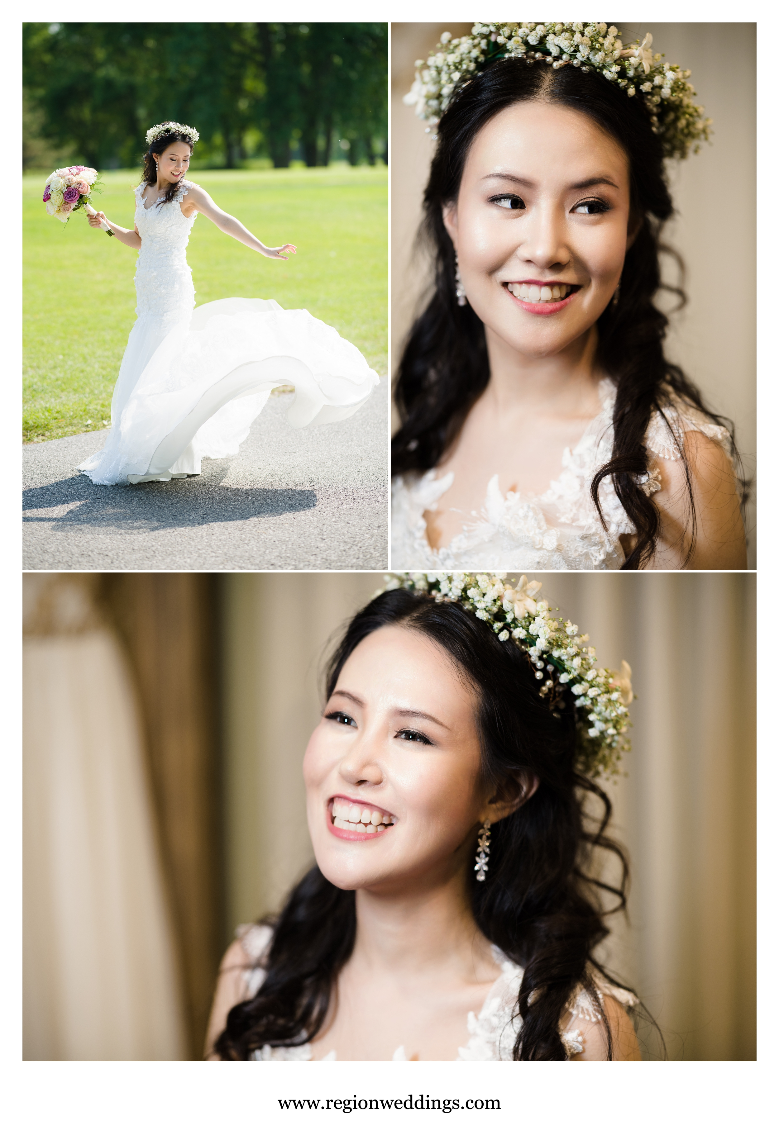 The bride shows off her boho crown and flowing white dress.