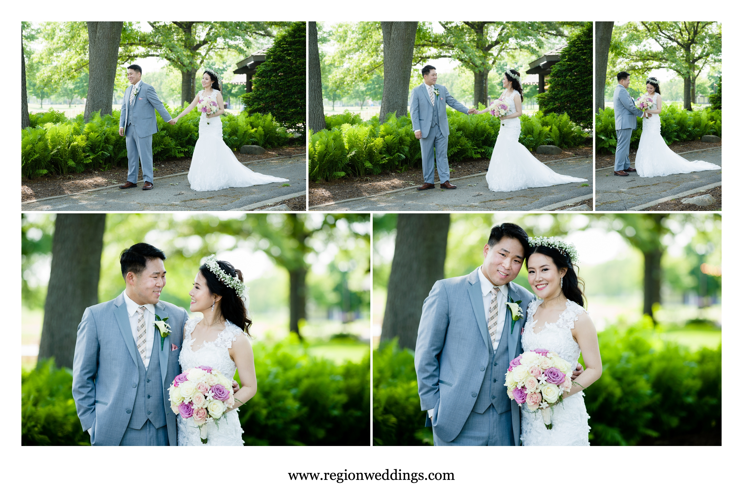 First look for the bride and groom next to the Briar Ridge Golf Course Clubhouse.