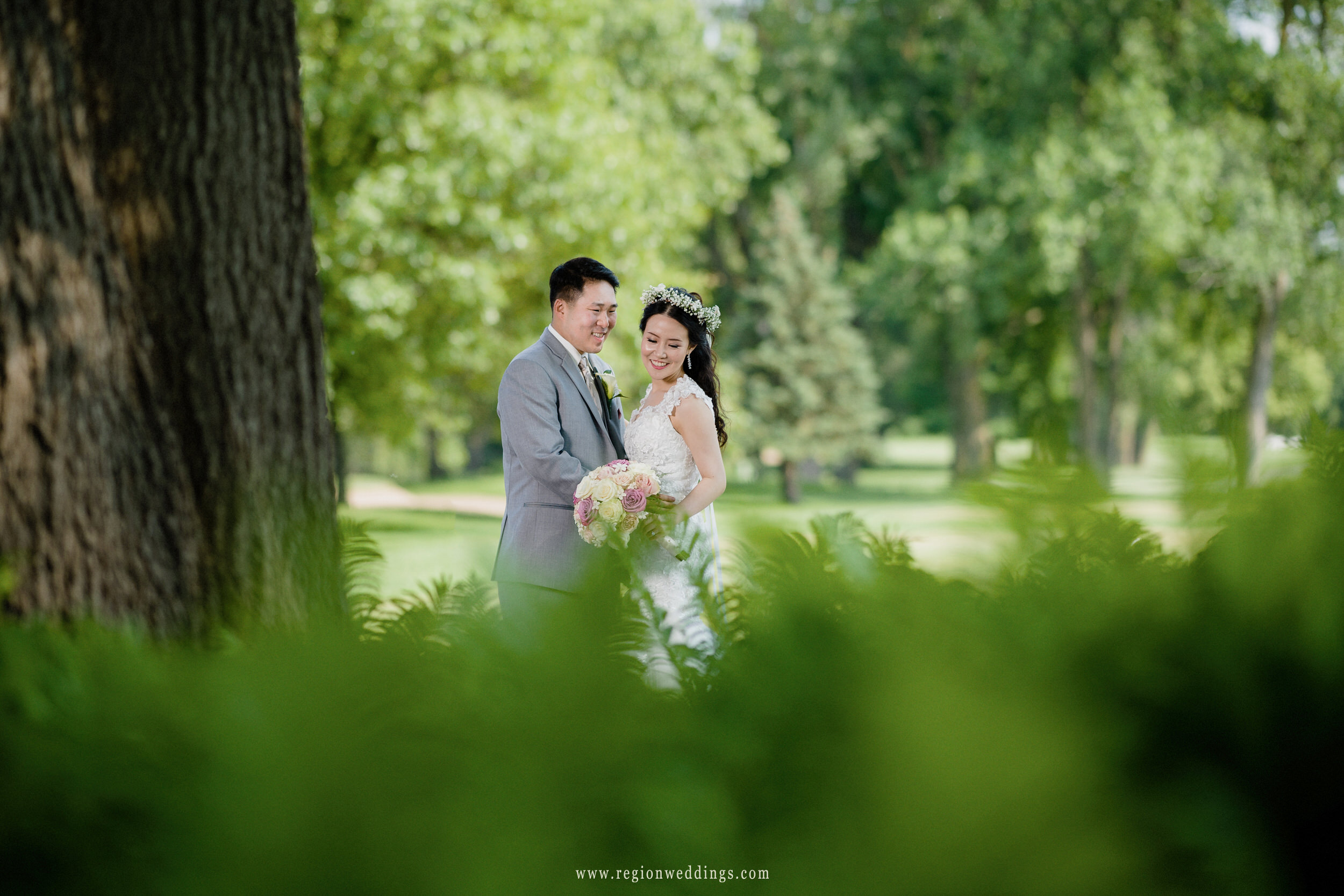 Bridal portrait surrounded by greenery at Briar Ridge Golf Course in Dyer, Indiana.
