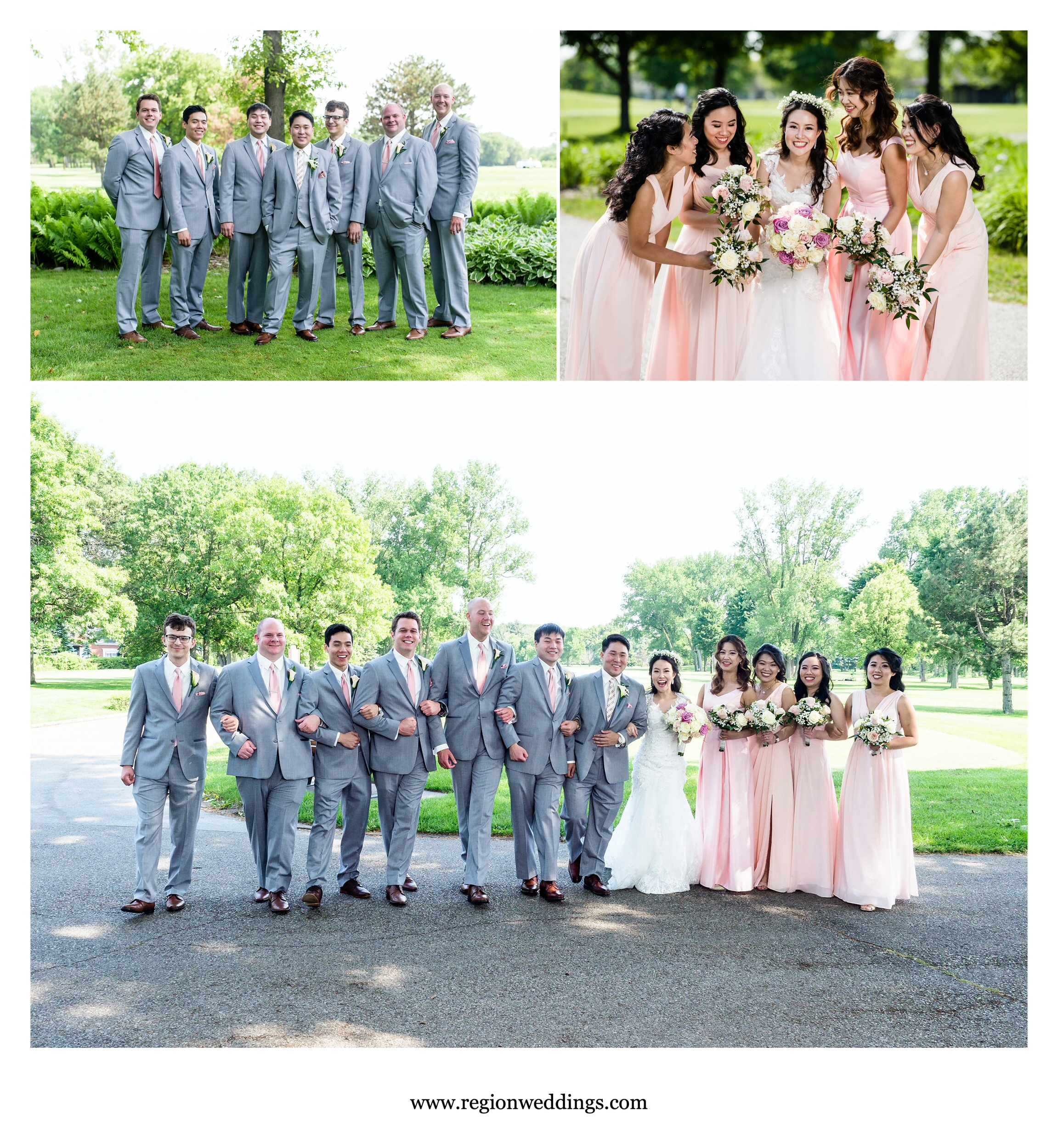 Wedding party group photos at Briar Ridge Country Club.