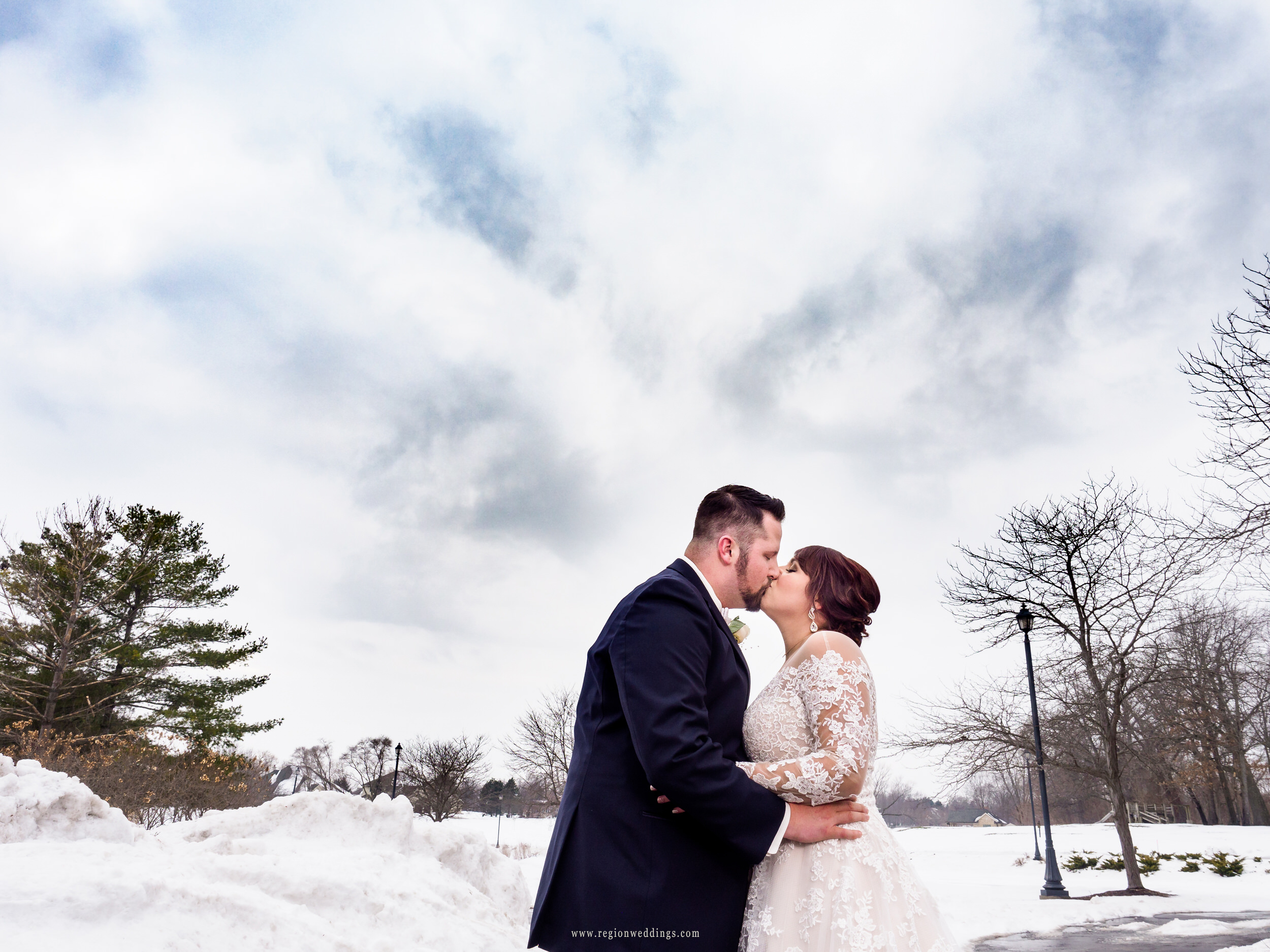Winter wedding portrait at Sand Creek Country Club.
