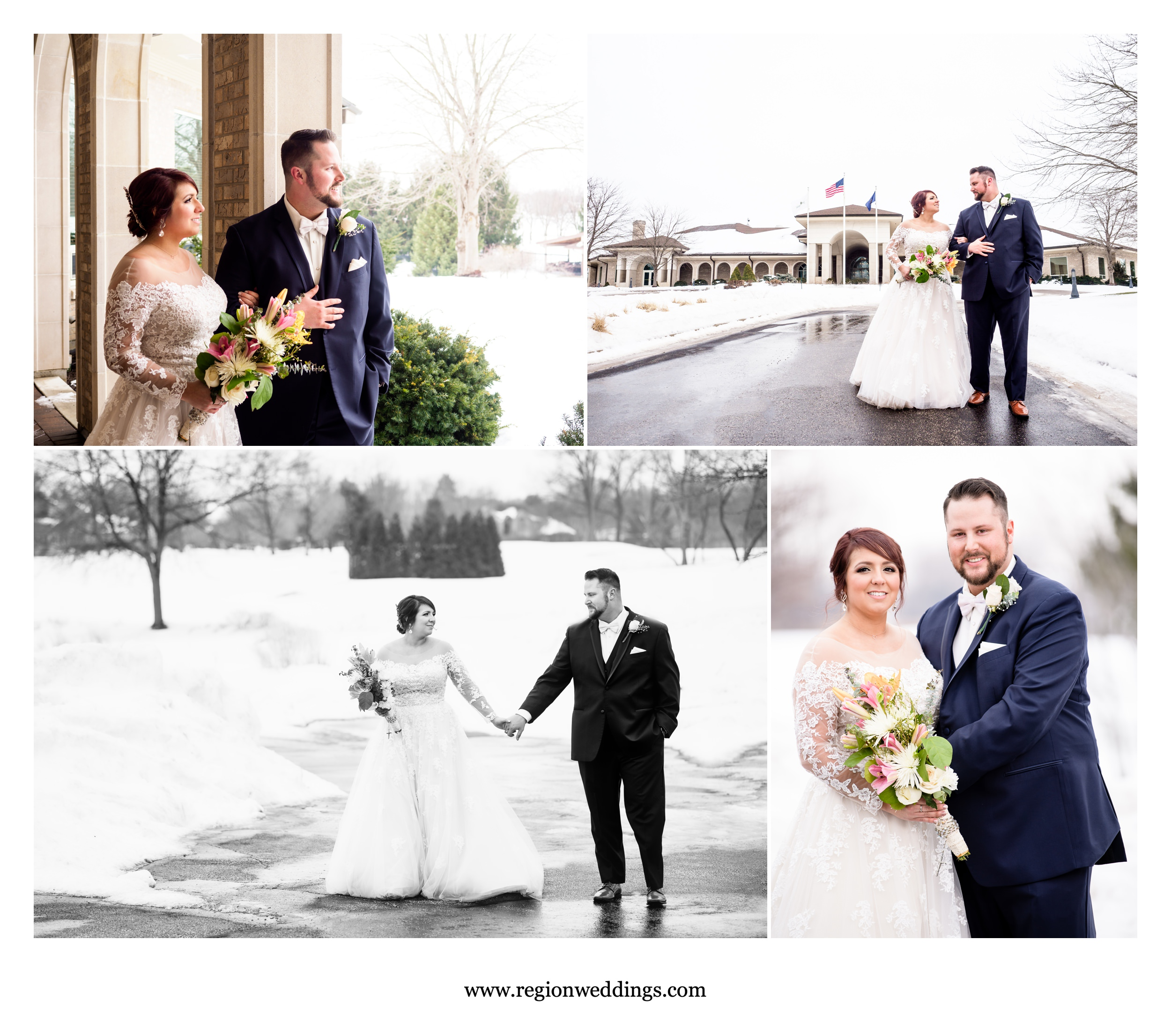 Winter wedding photos at Sand Creek Golf Course in Chesterton, Indiana.