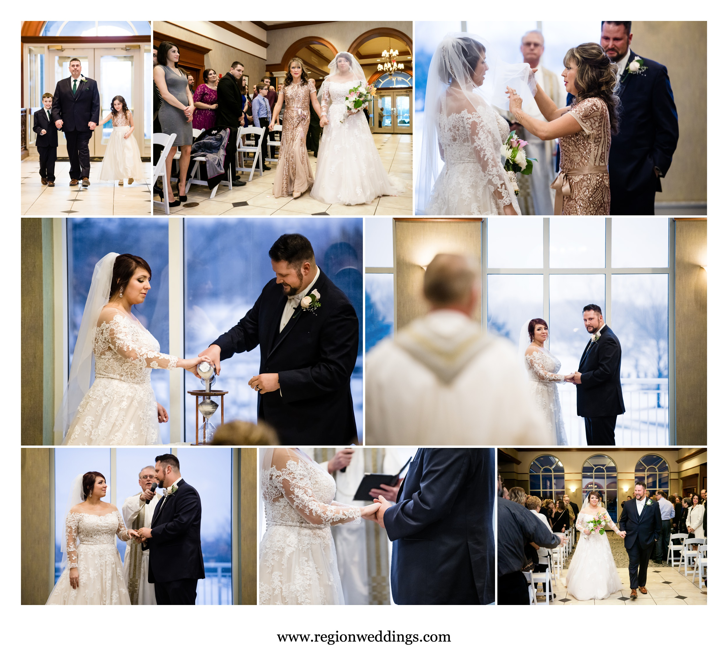 Indoor winter wedding ceremony at Sand Creek Country Club.