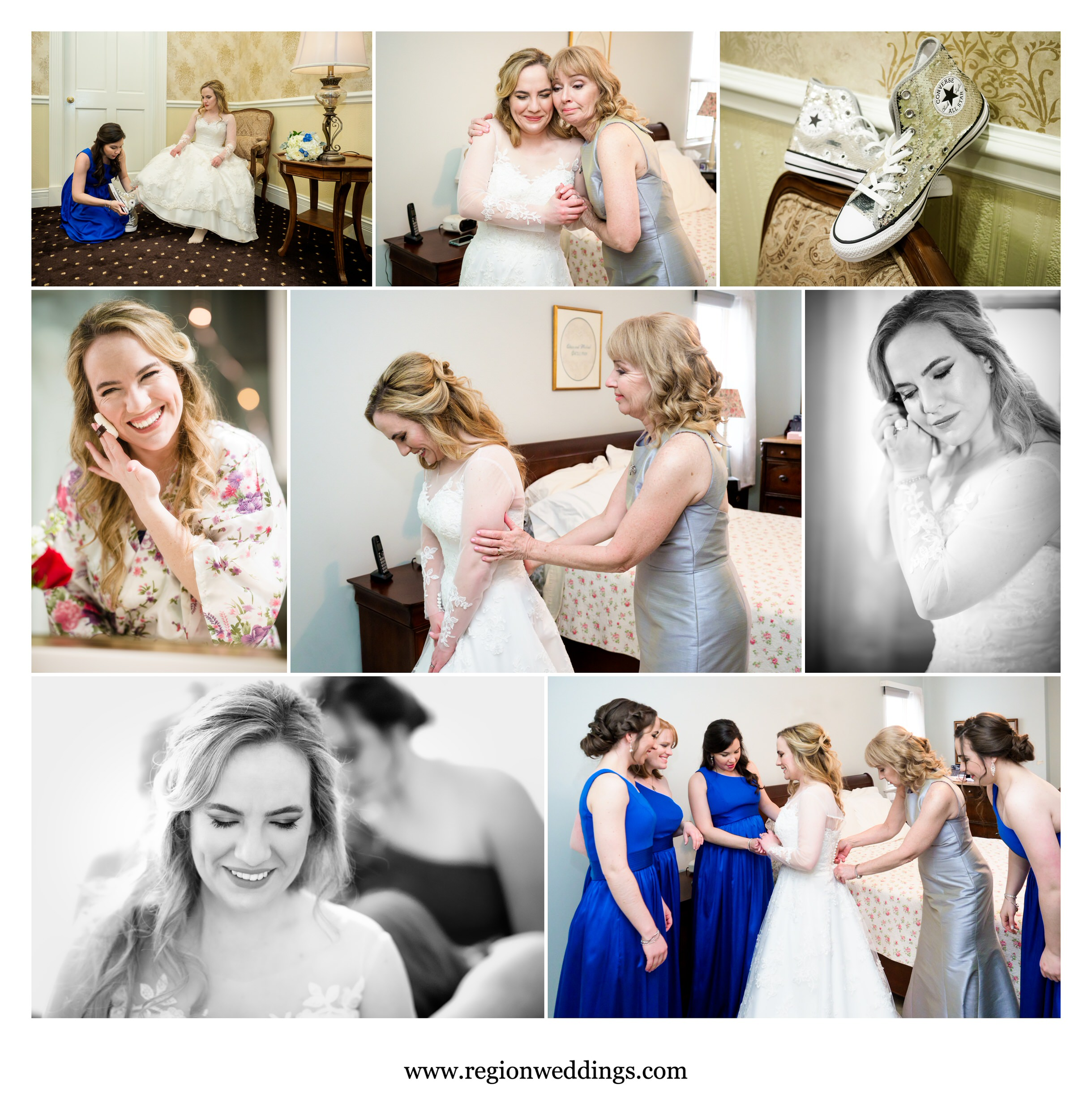 Bridal prep moments with mom, sisters and bridesmaids.