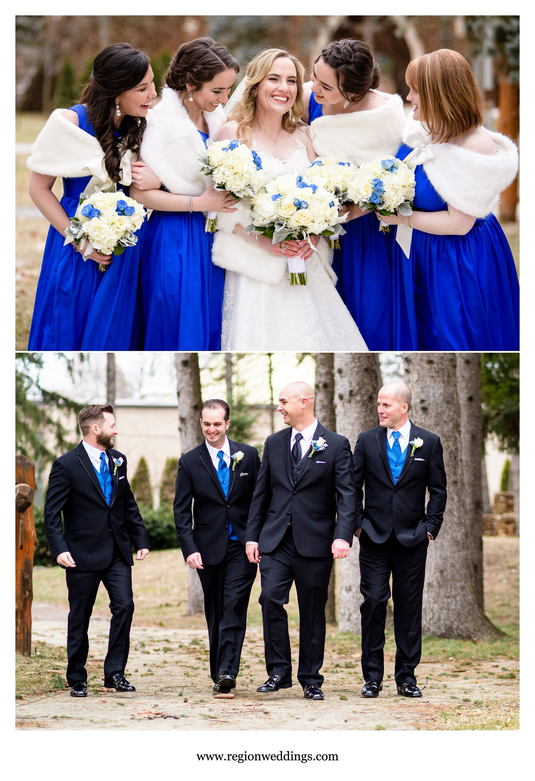 Bridesmaids and groomsmen take a winter stroll on the grounds of Carmelite Fathers.
