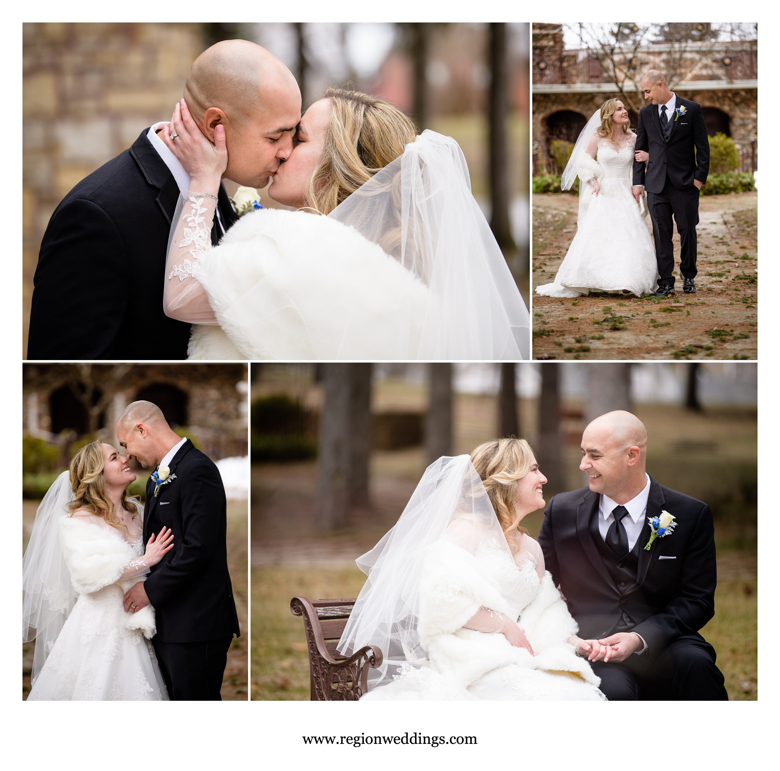 Winter bride and groom wedding pictures at Carmelite Shrine.