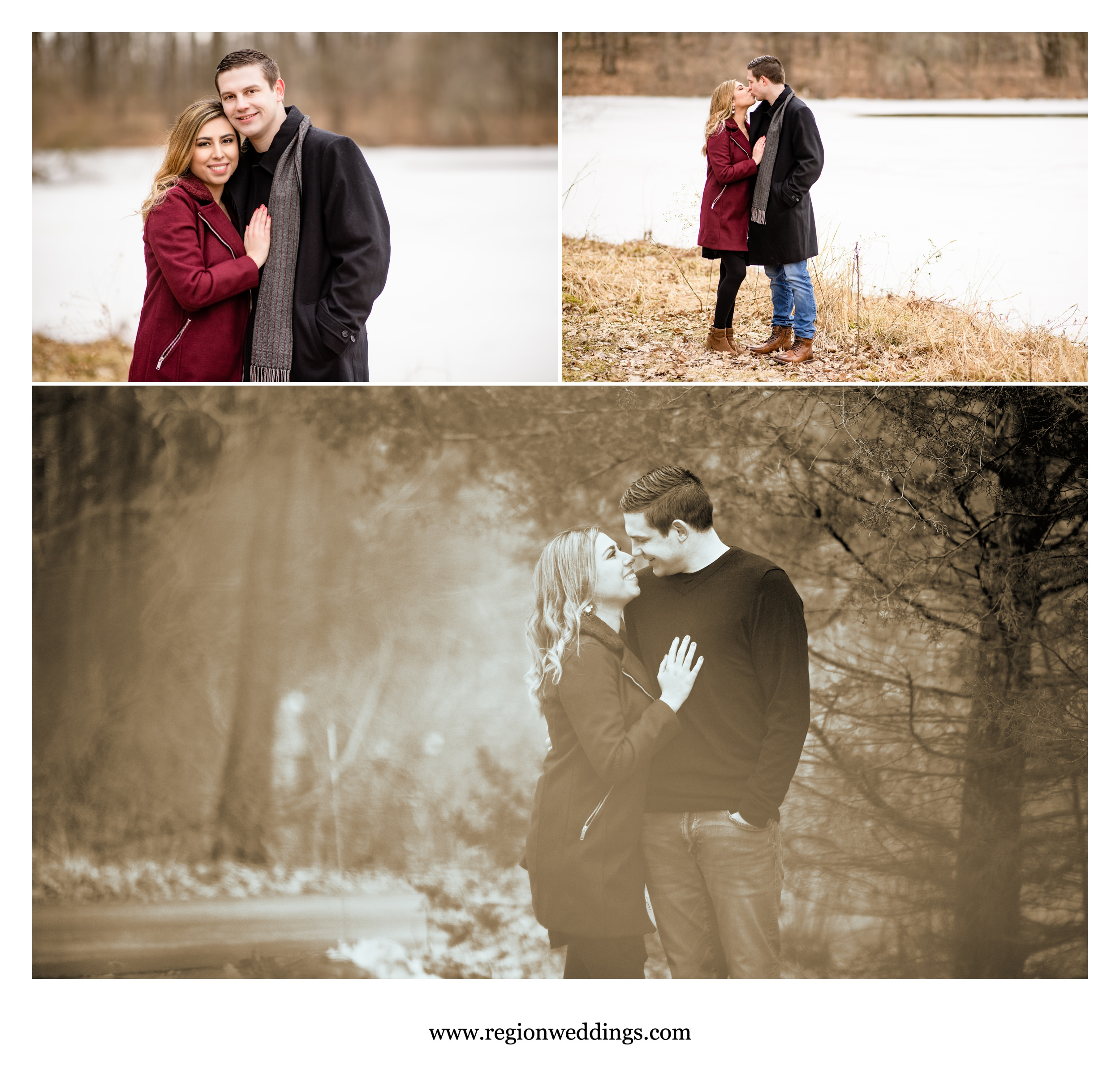 Romantic engagement photos taken in winter.